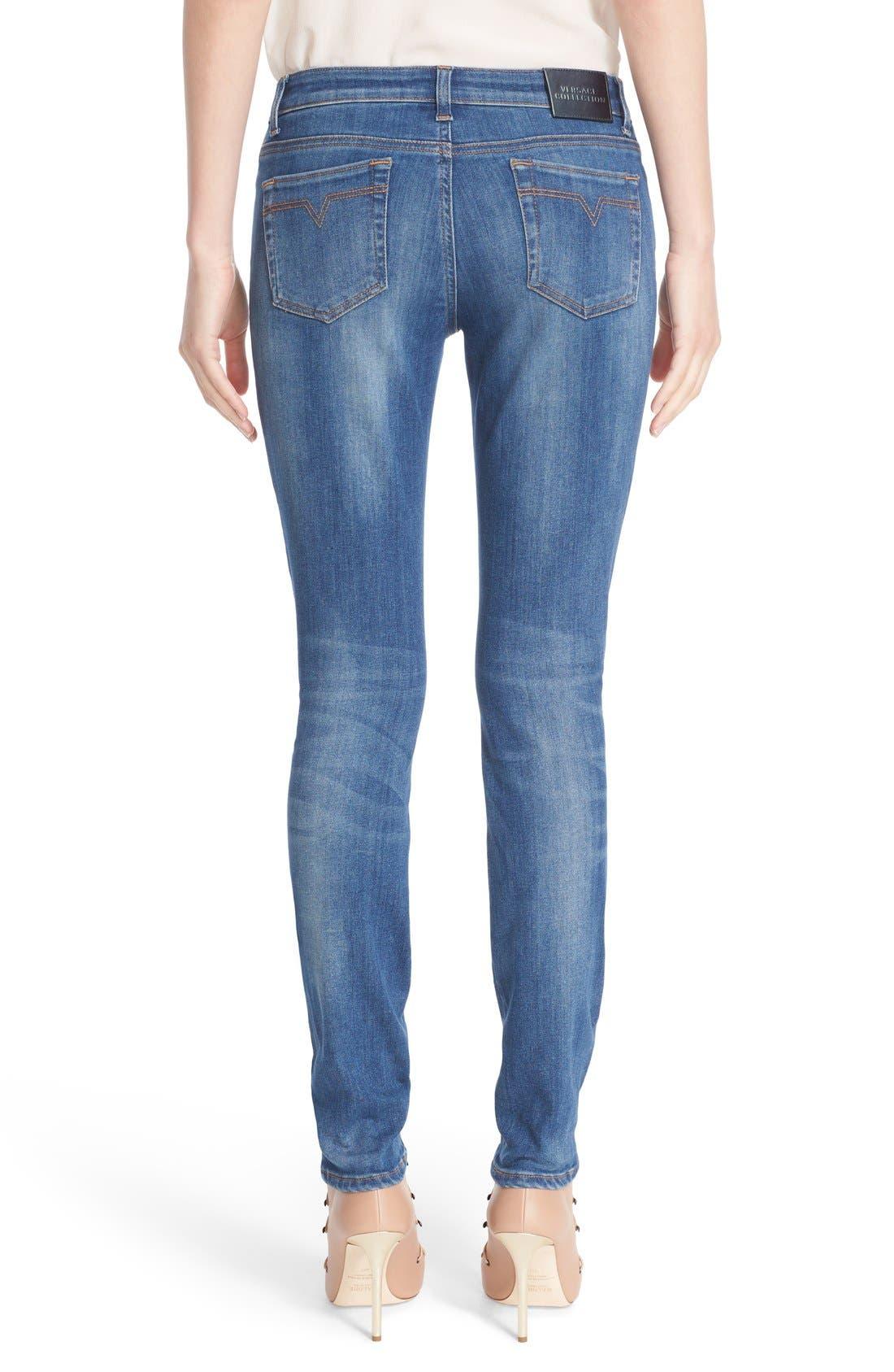 Sparkle Stripe Embellished Skinny Jeans,                             Alternate thumbnail 2, color,                             400