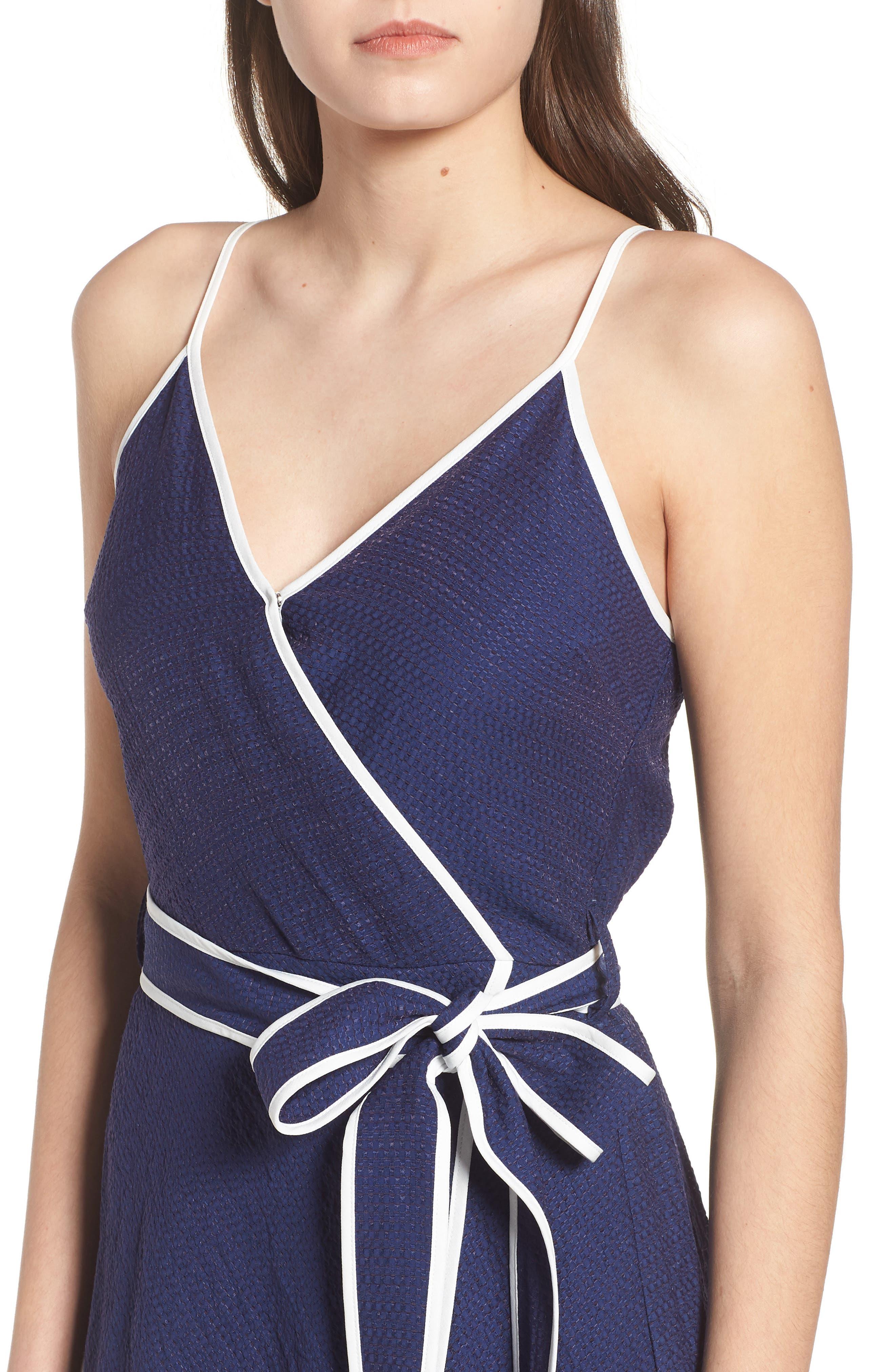 Midi Wrap Style Dress,                             Alternate thumbnail 4, color,