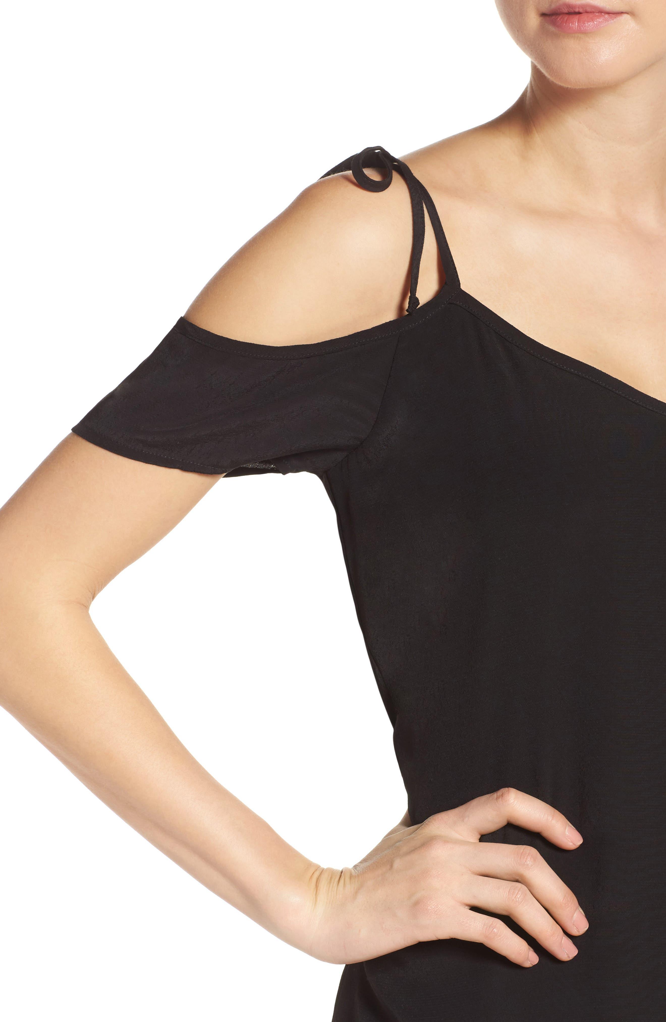 Tie Cold Shoulder Midi Dress,                             Alternate thumbnail 4, color,                             001