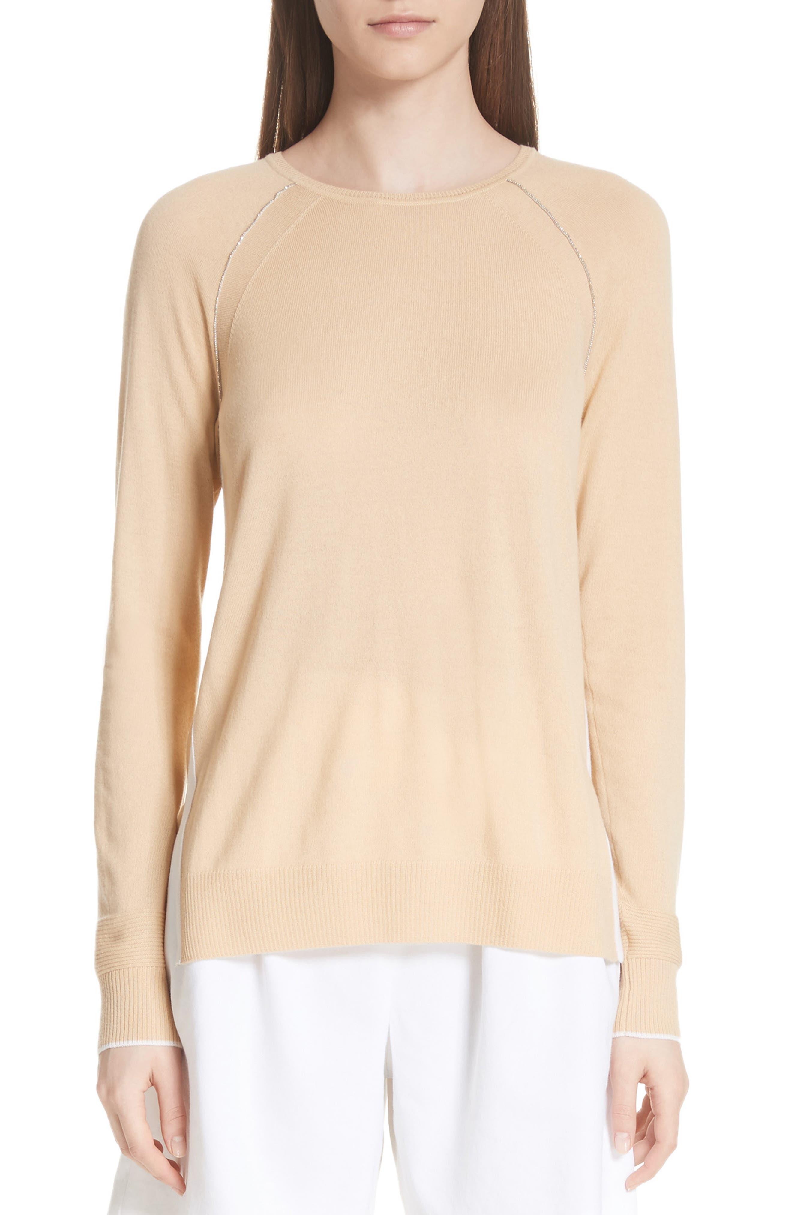 St. John Collection Raglan Sleeve Cashmere Sweater, Beige