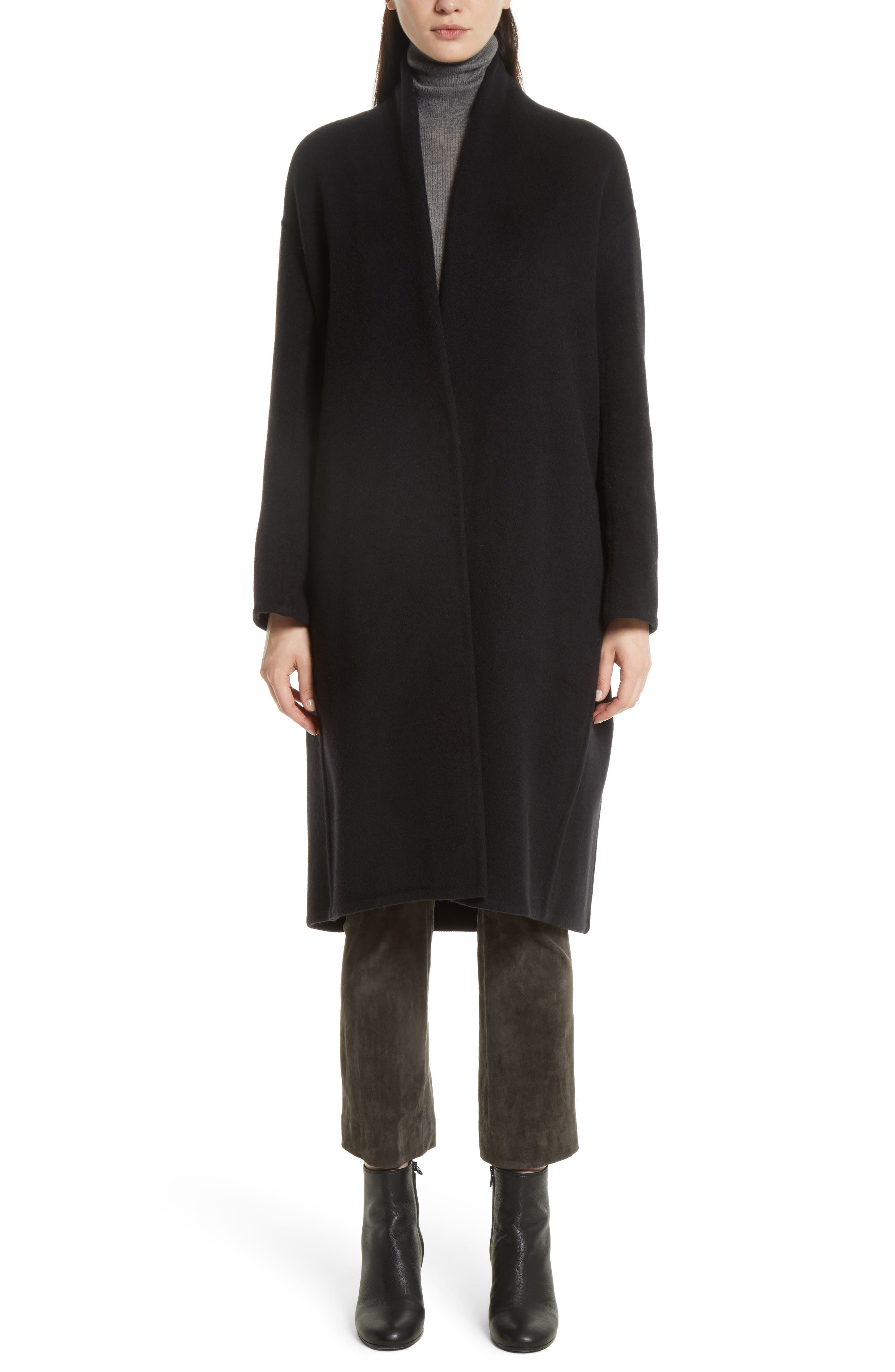 VINCE High Collar Long Wool Blend Coat, Main, color, 001