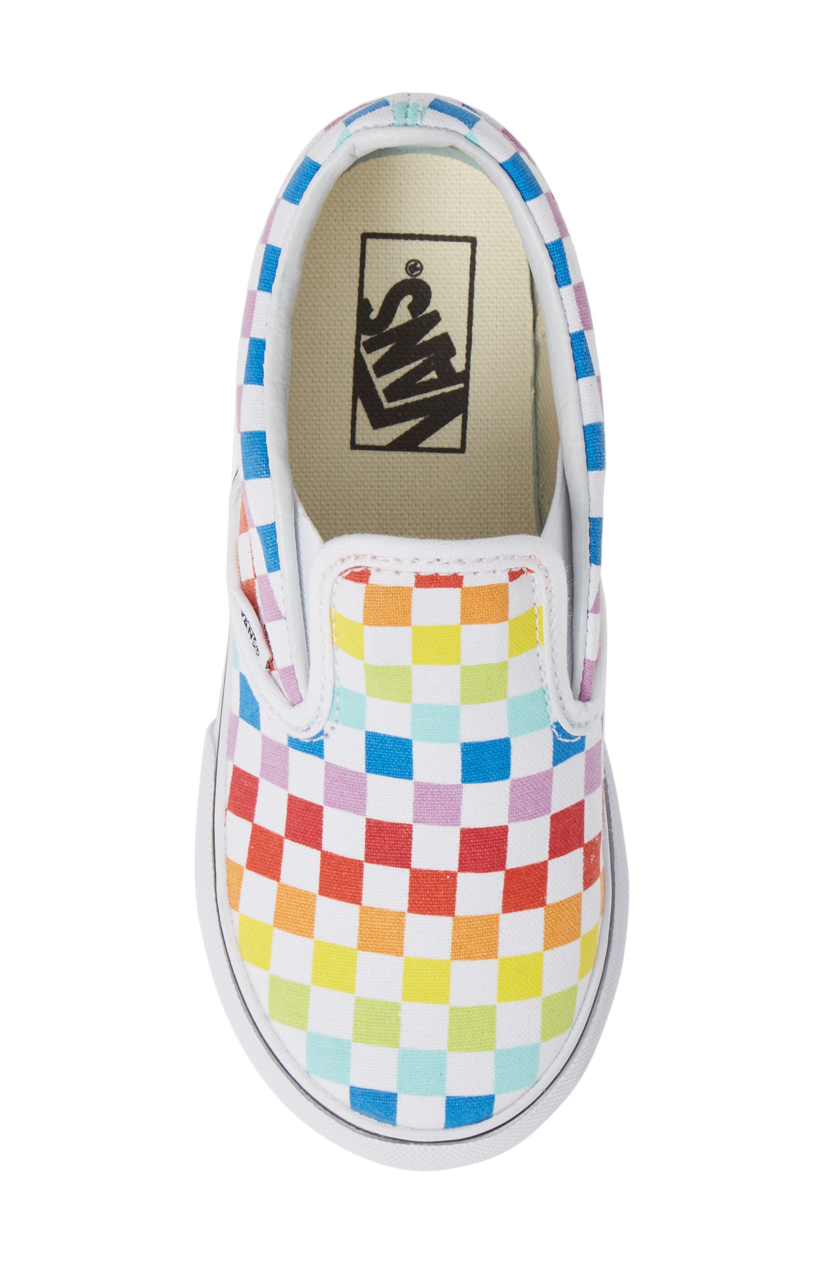 'Classic - Checker' Slip-On,                             Alternate thumbnail 5, color,                             RAINBOW/ WHITE