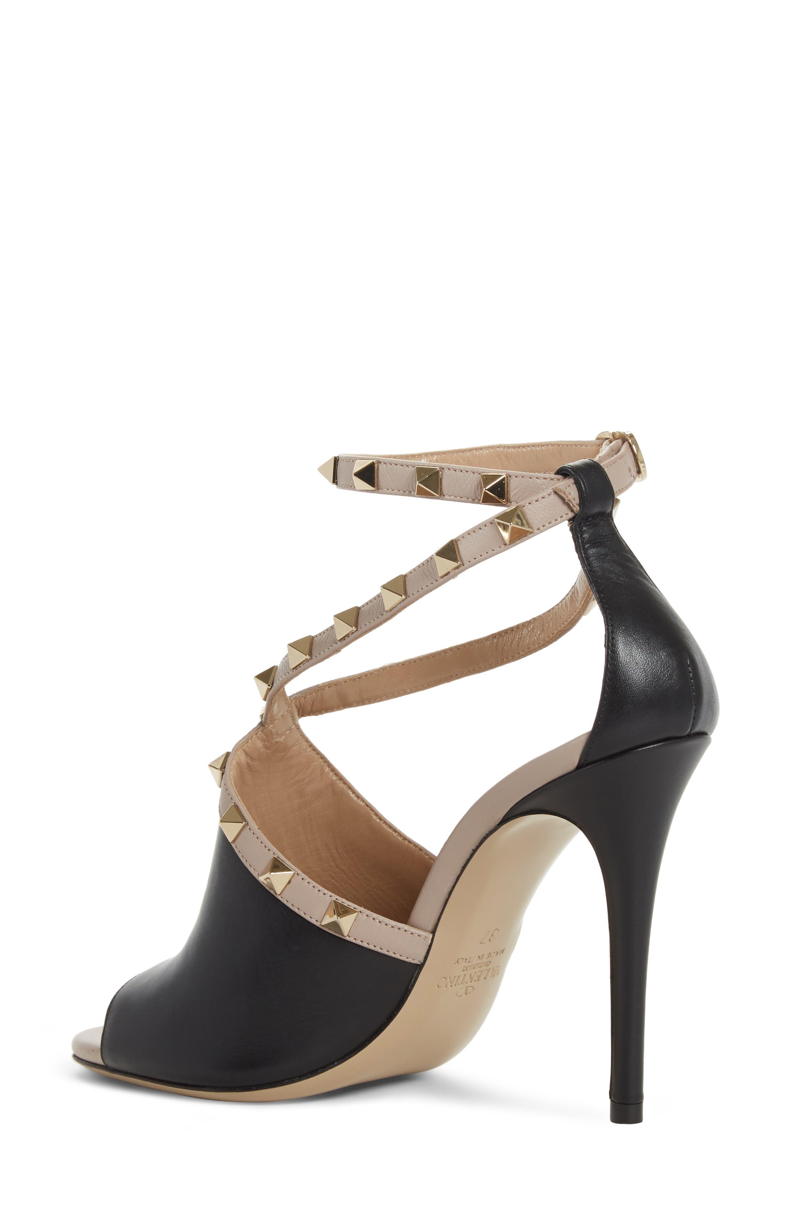 Rockstud Peep Toe Sandal,                             Alternate thumbnail 2, color,                             BLACK/ BEIGE