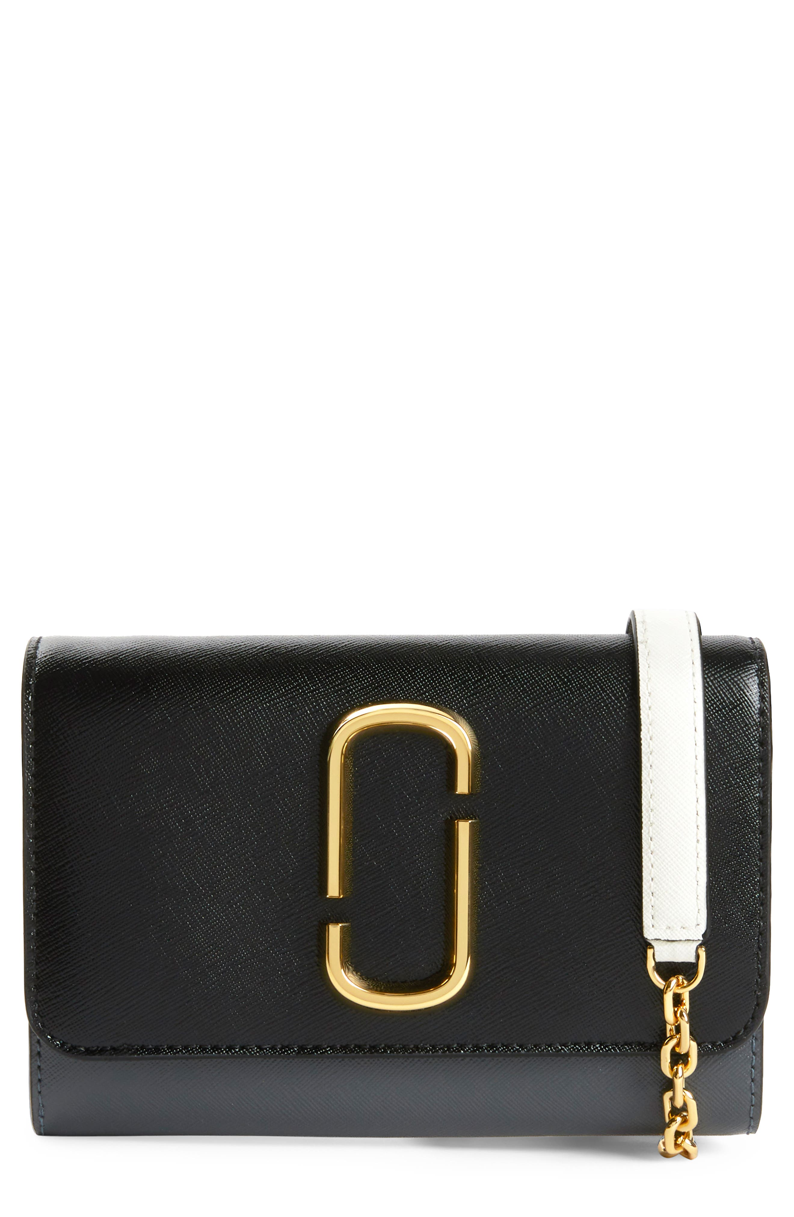 Snapshot Leather Wallet on a Chain,                             Main thumbnail 1, color,                             BLACK MULTI