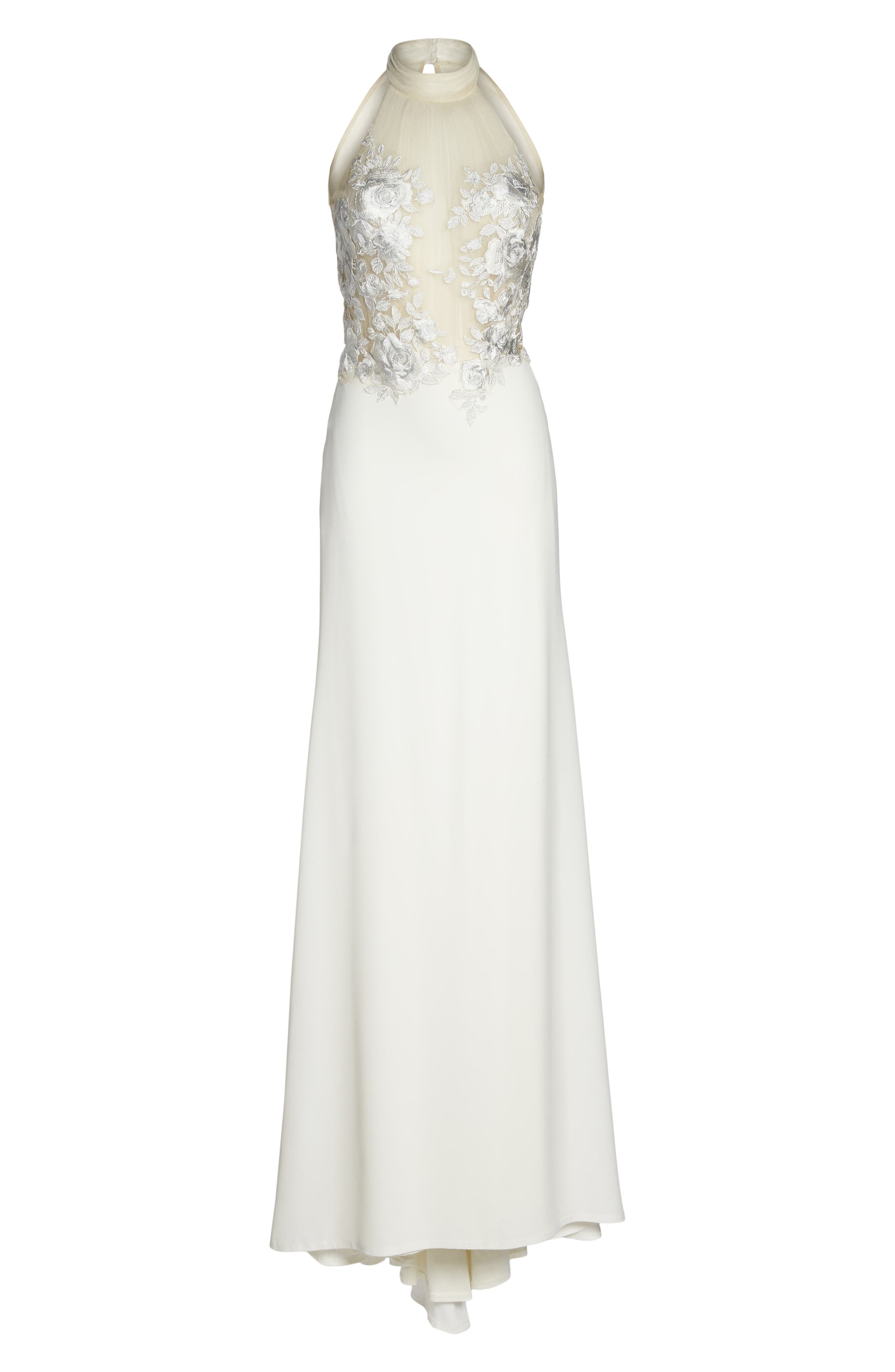 Embroidered Halter Trumpet Gown,                             Alternate thumbnail 6, color,                             IVORY