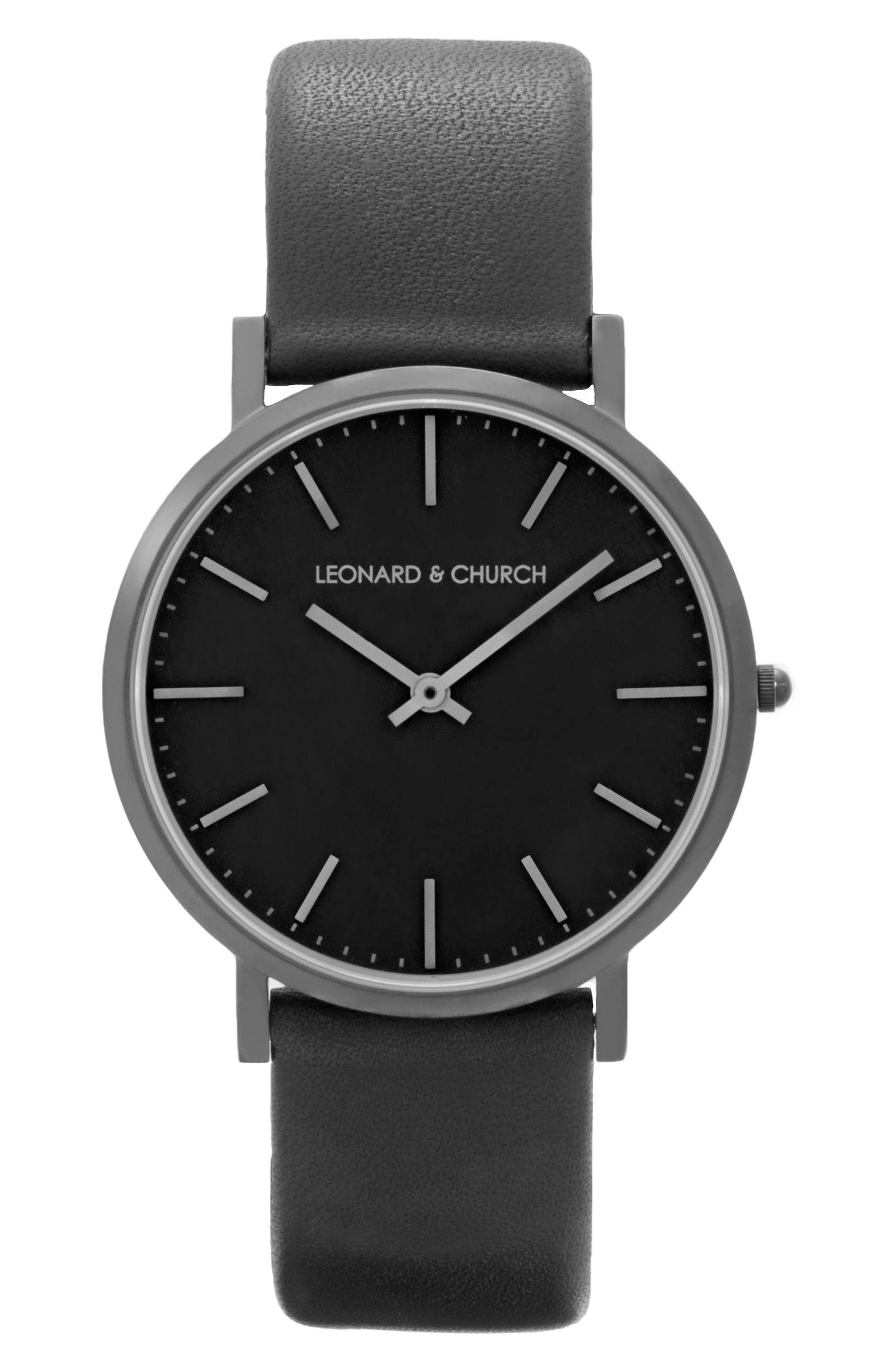 Leonard & Church Varick Leather Strap Watch, 40mm,                             Main thumbnail 1, color,                             BLACK