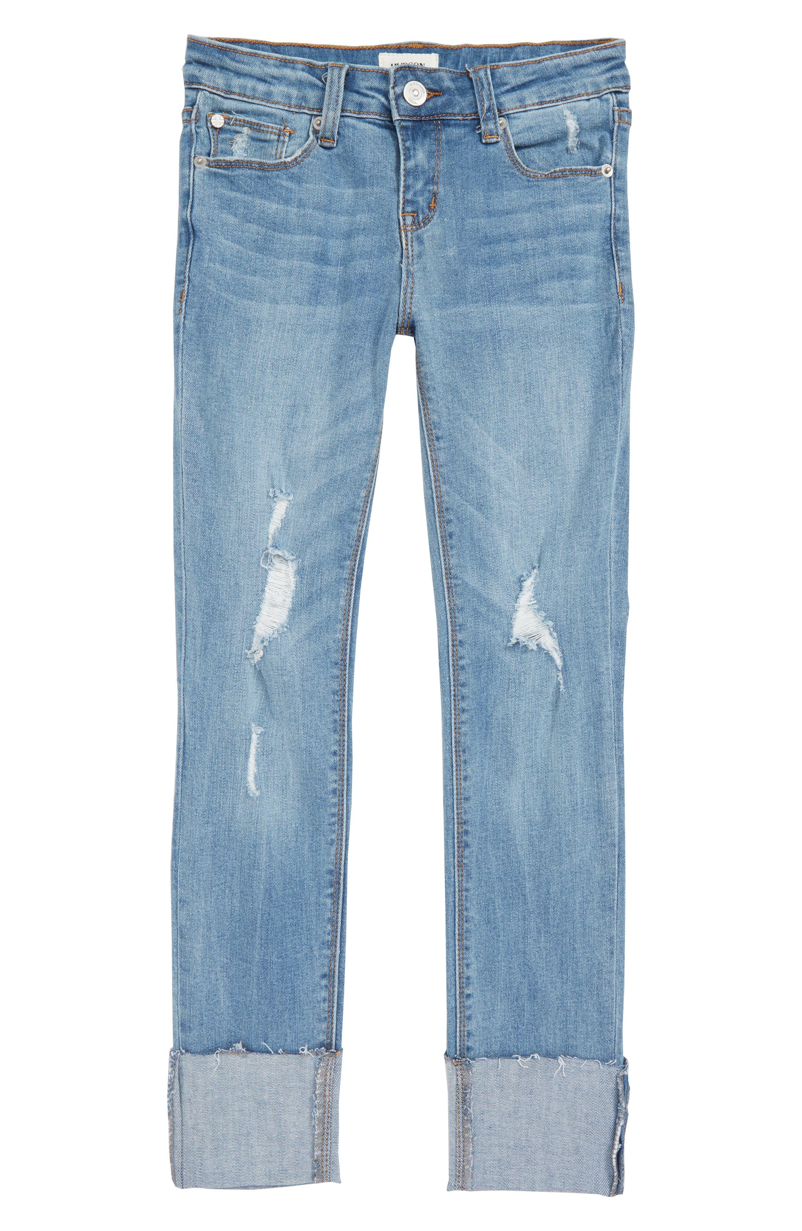 Kaia Convertible Skinny Jeans, Main, color, COASTAL BLUE WASH