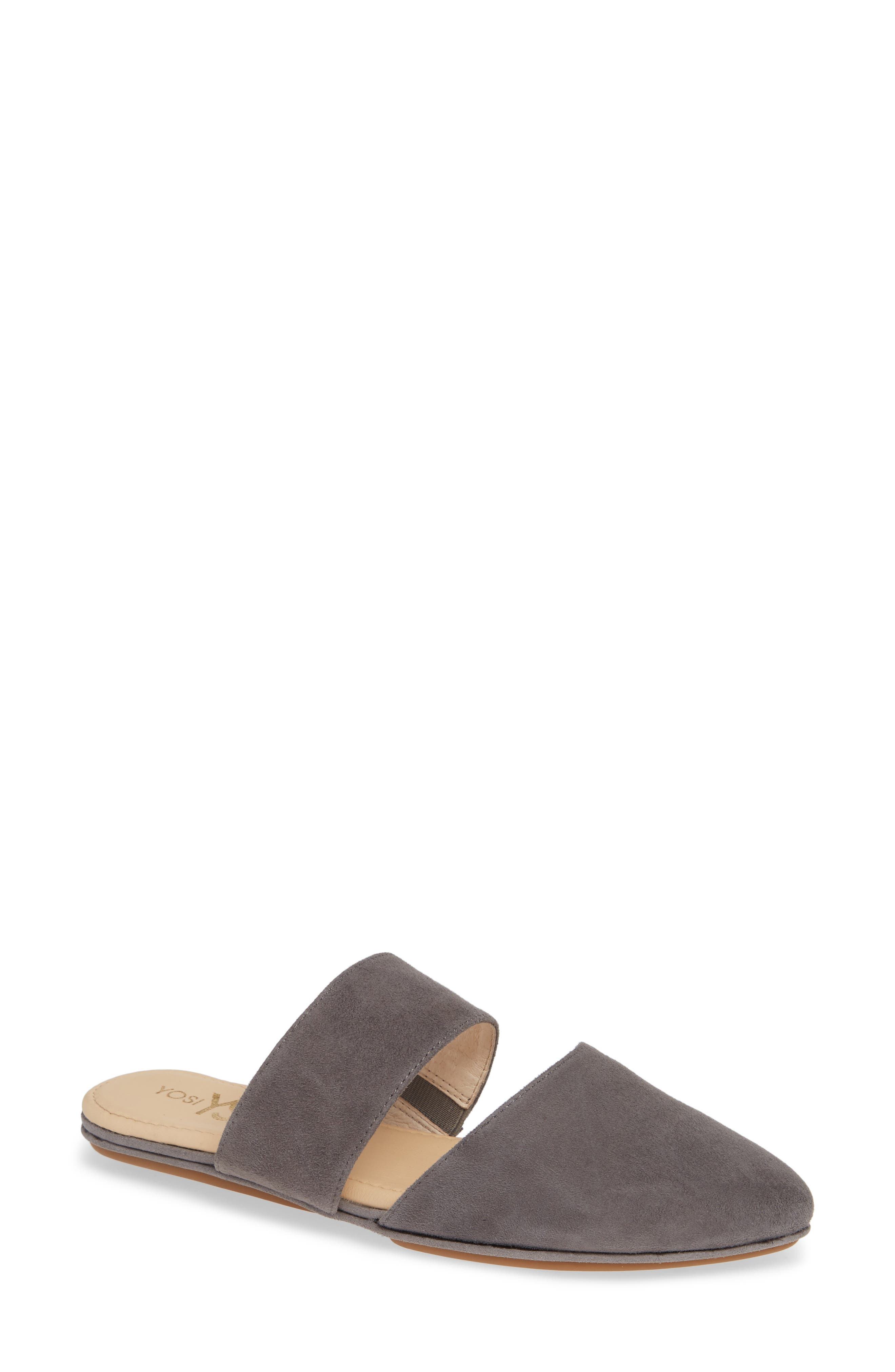 Vicky Mule,                             Main thumbnail 1, color,                             DARK GREY SUEDE