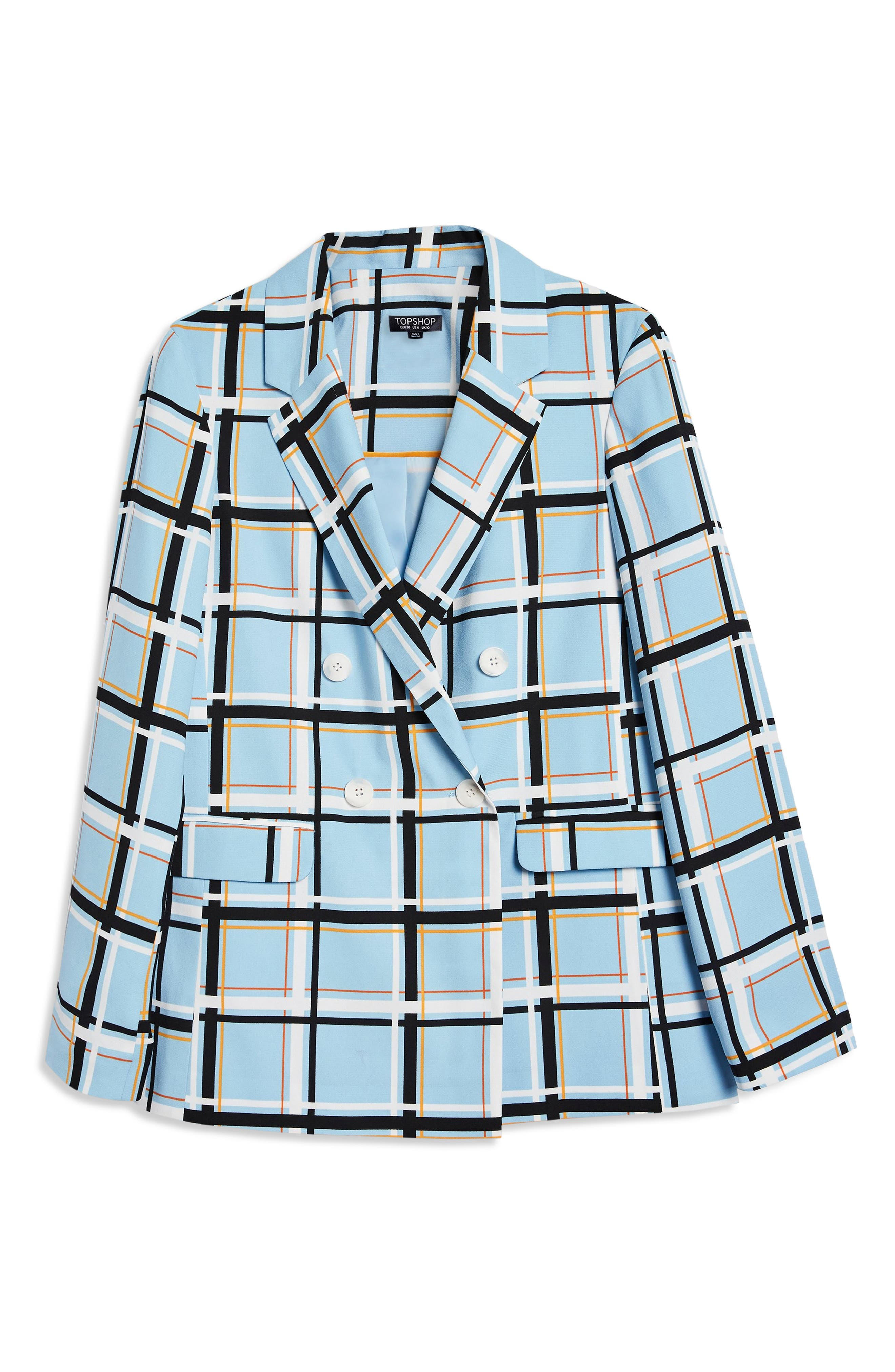 Check Double Breasted Jacket,                             Main thumbnail 1, color,                             LIGHT BLUE MULTI