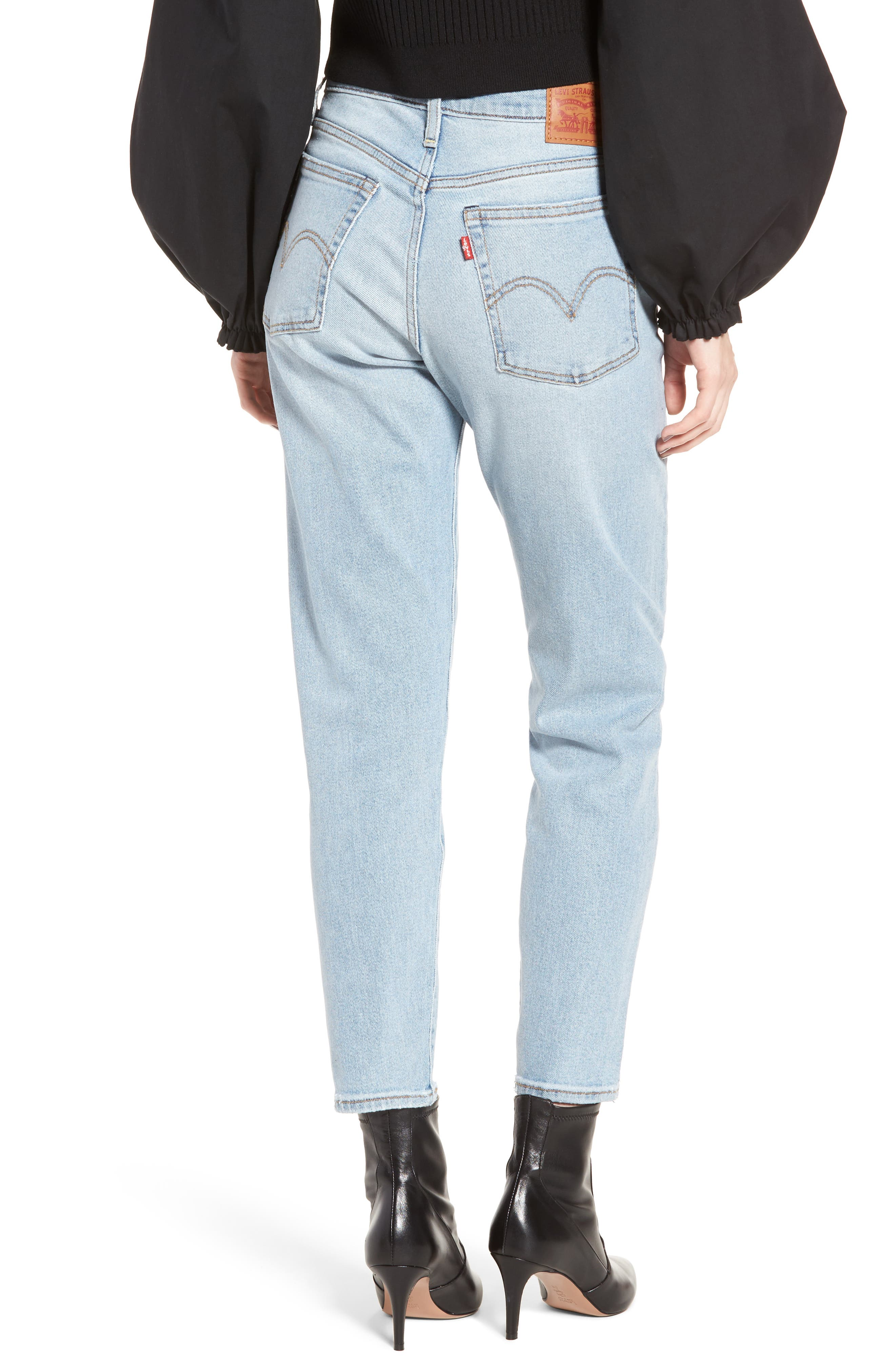 Wedgie Icon Fit High Waist Crop Jeans,                             Alternate thumbnail 2, color,                             BAUHAUS BLUES