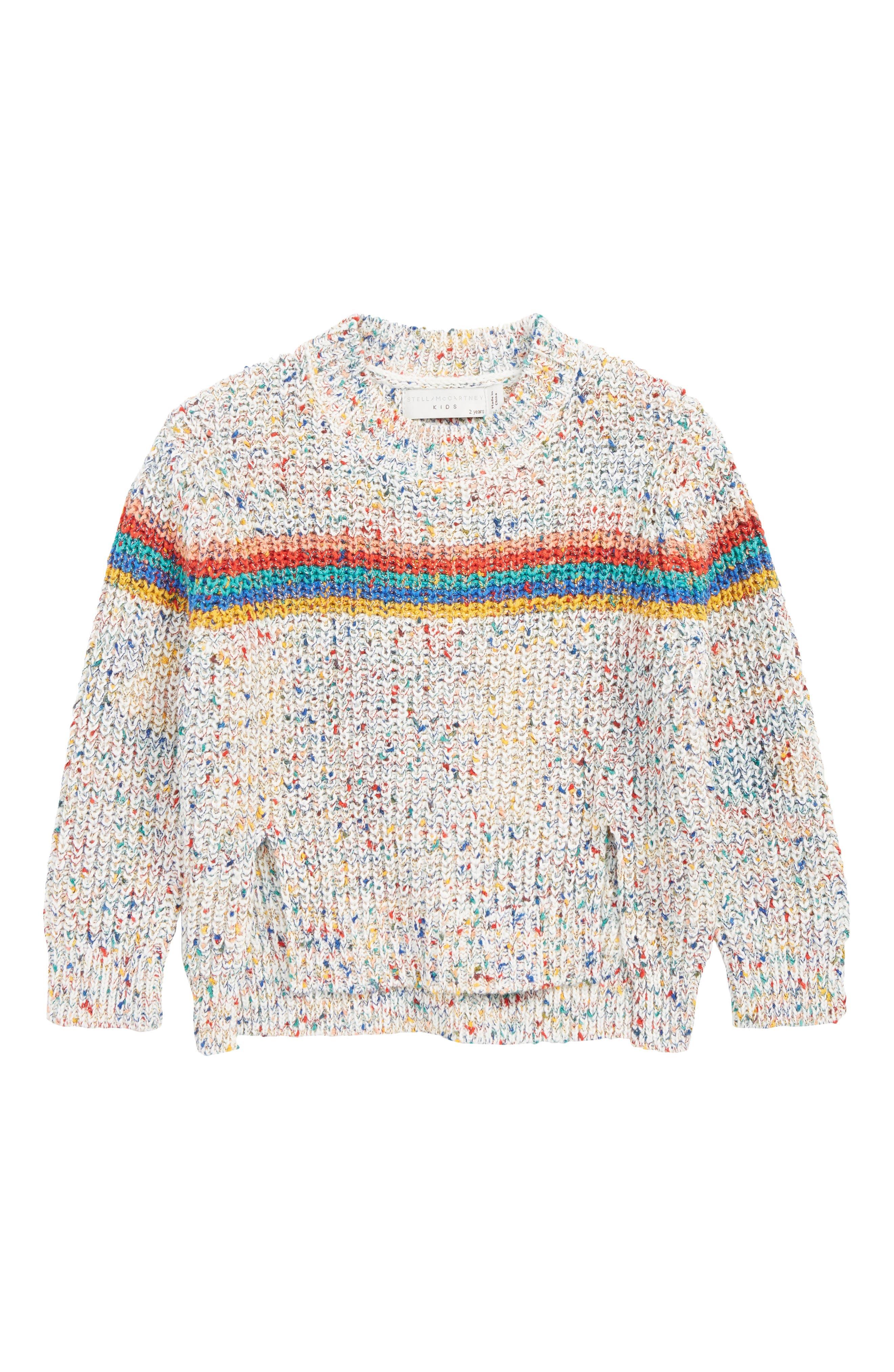 STELLA MCCARTNEY KIDS,                             Stella McCartney Rainbow Sweater,                             Main thumbnail 1, color,                             MULTI