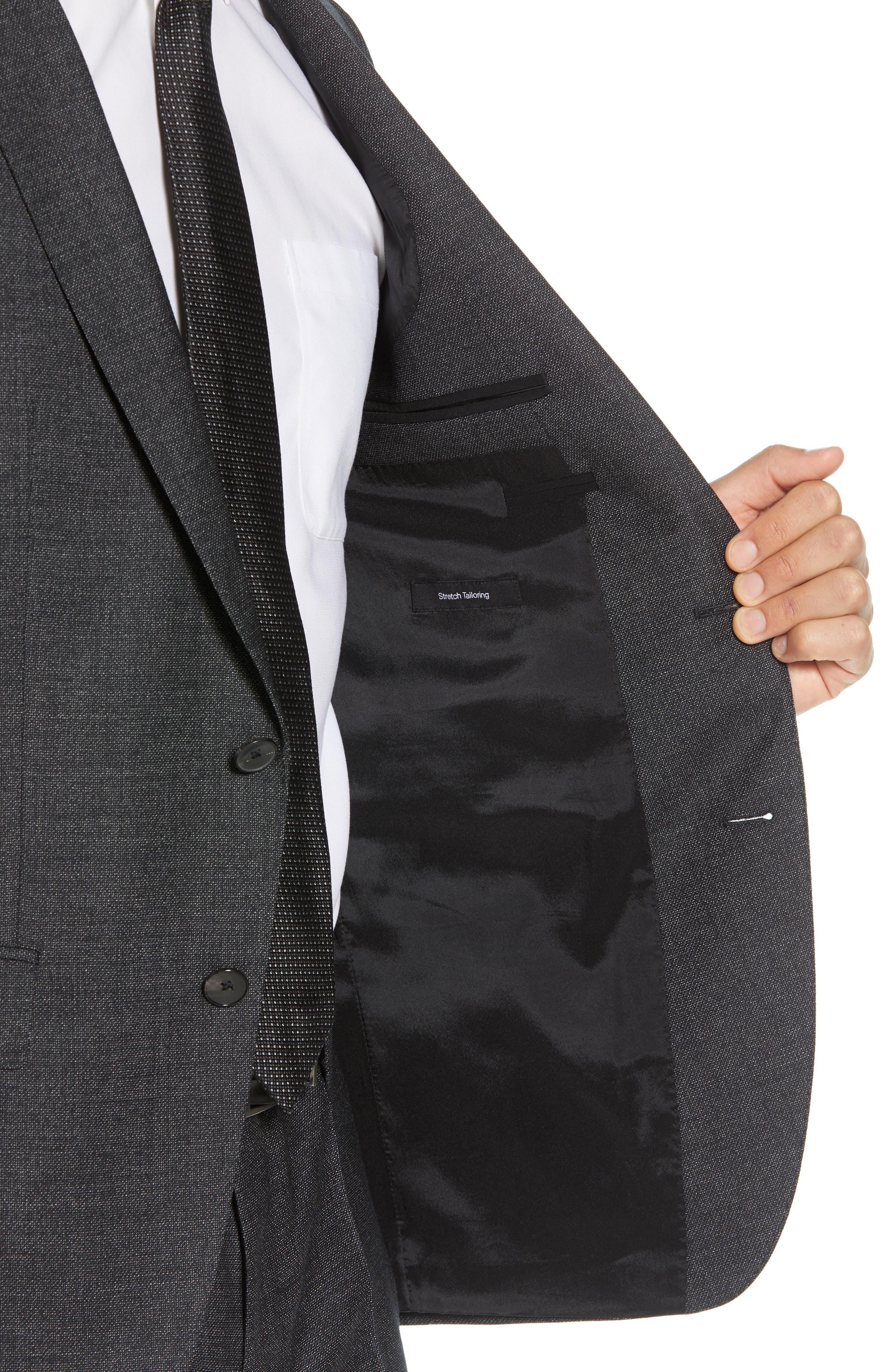Huge/Genius Trim Fit Solid Wool Suit,                             Alternate thumbnail 4, color,                             BLACK