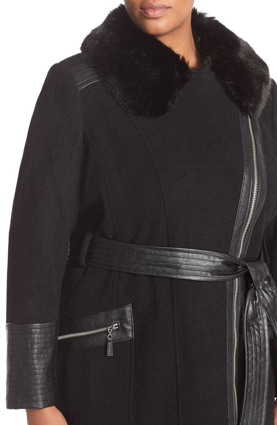 Asymmetrical Wool Blend Coat with Faux Fur Collar,                             Alternate thumbnail 2, color,                             001