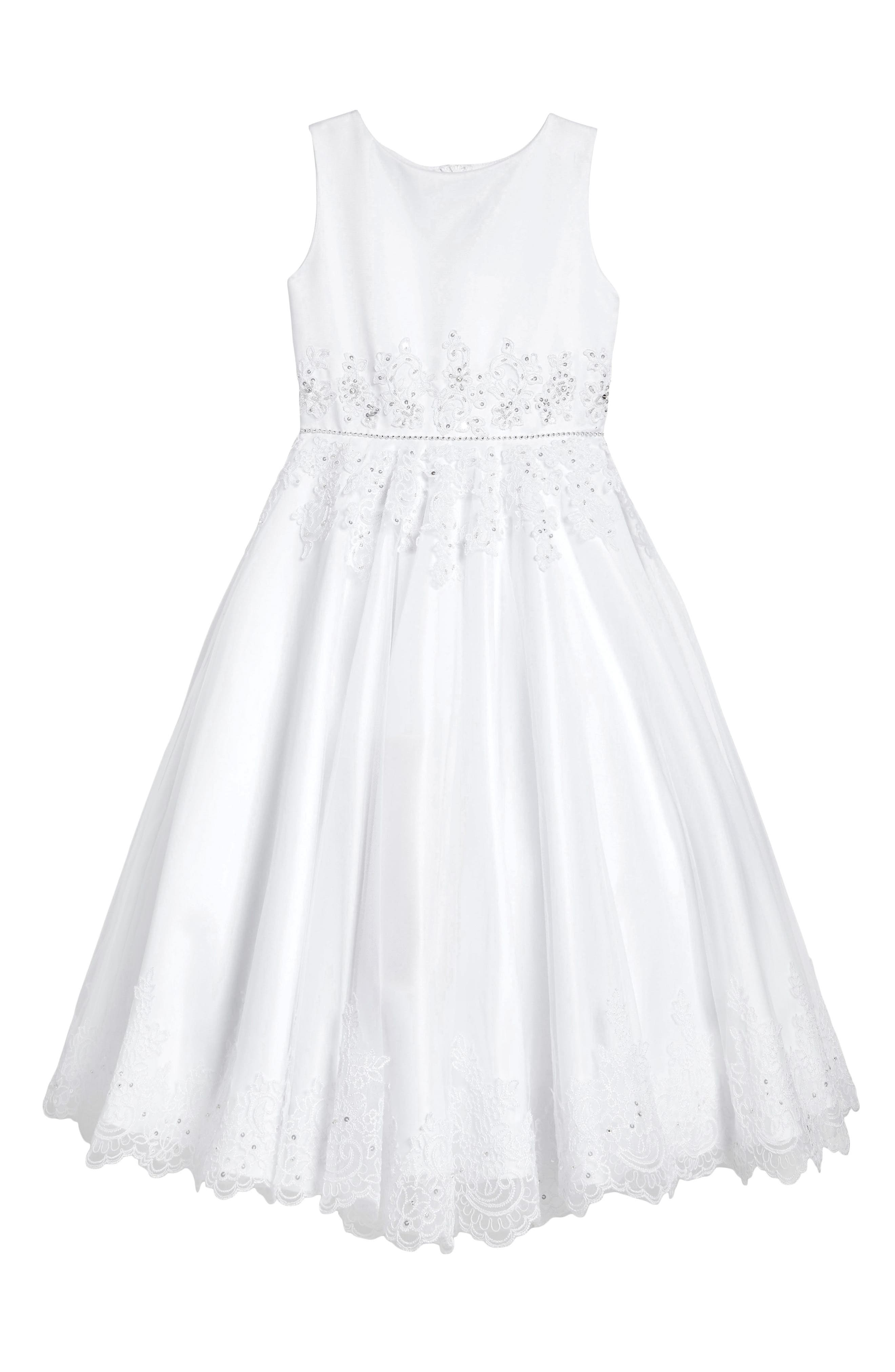 Satin & Tulle First Communion Dress,                             Main thumbnail 1, color,