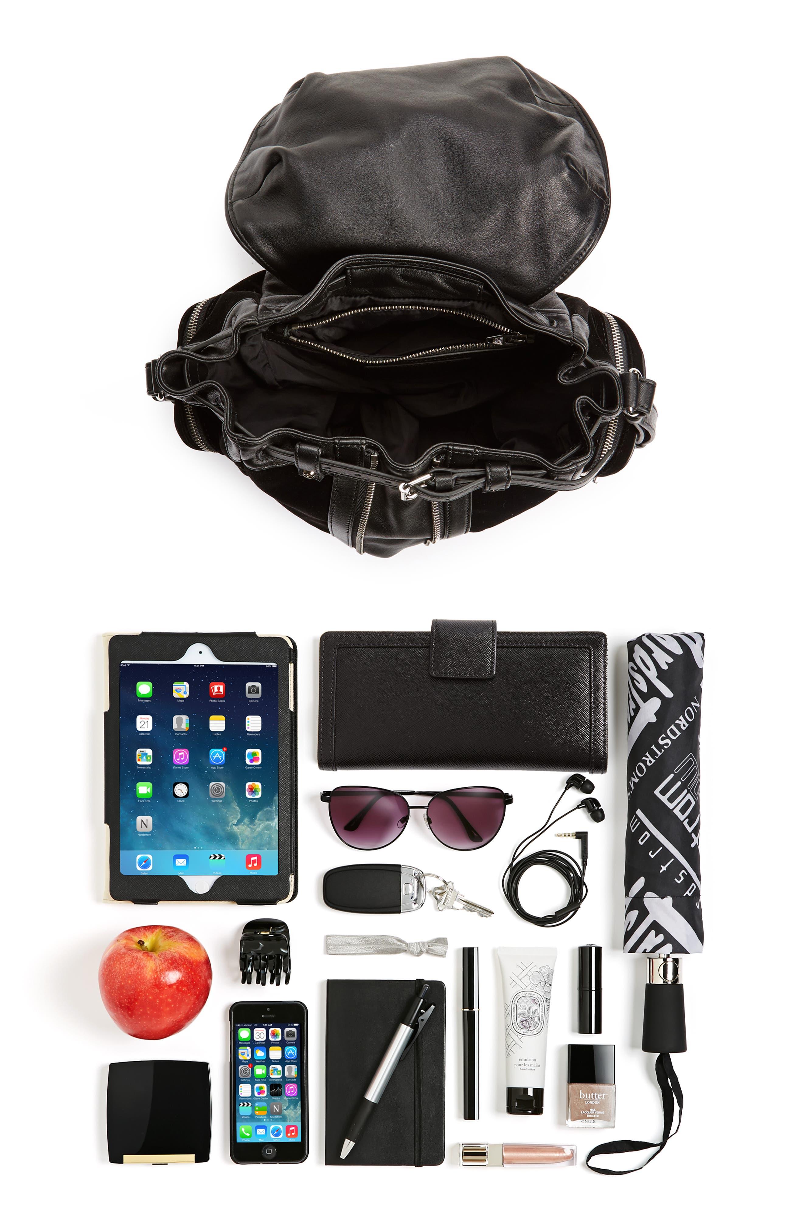 Mini Marti Velvet & Lambskin Leather Backpack,                             Alternate thumbnail 7, color,                             001