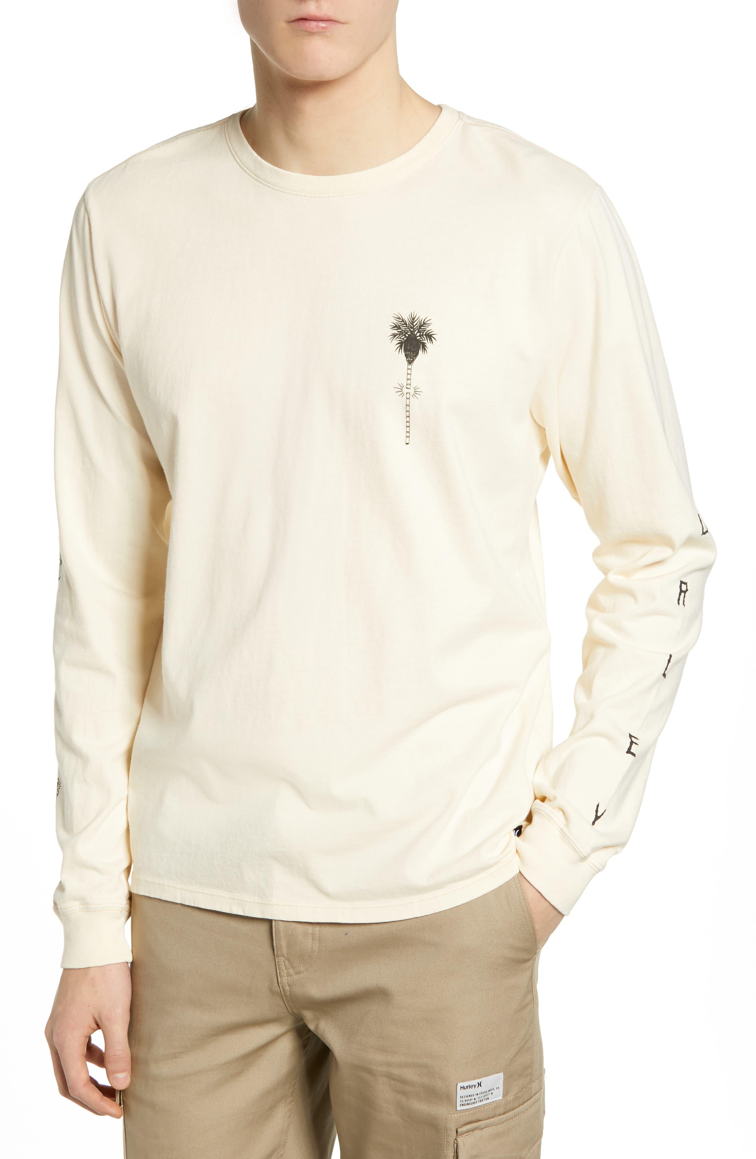 HURLEY Heavy Shred Long Sleeve T-Shirt in Light Cream