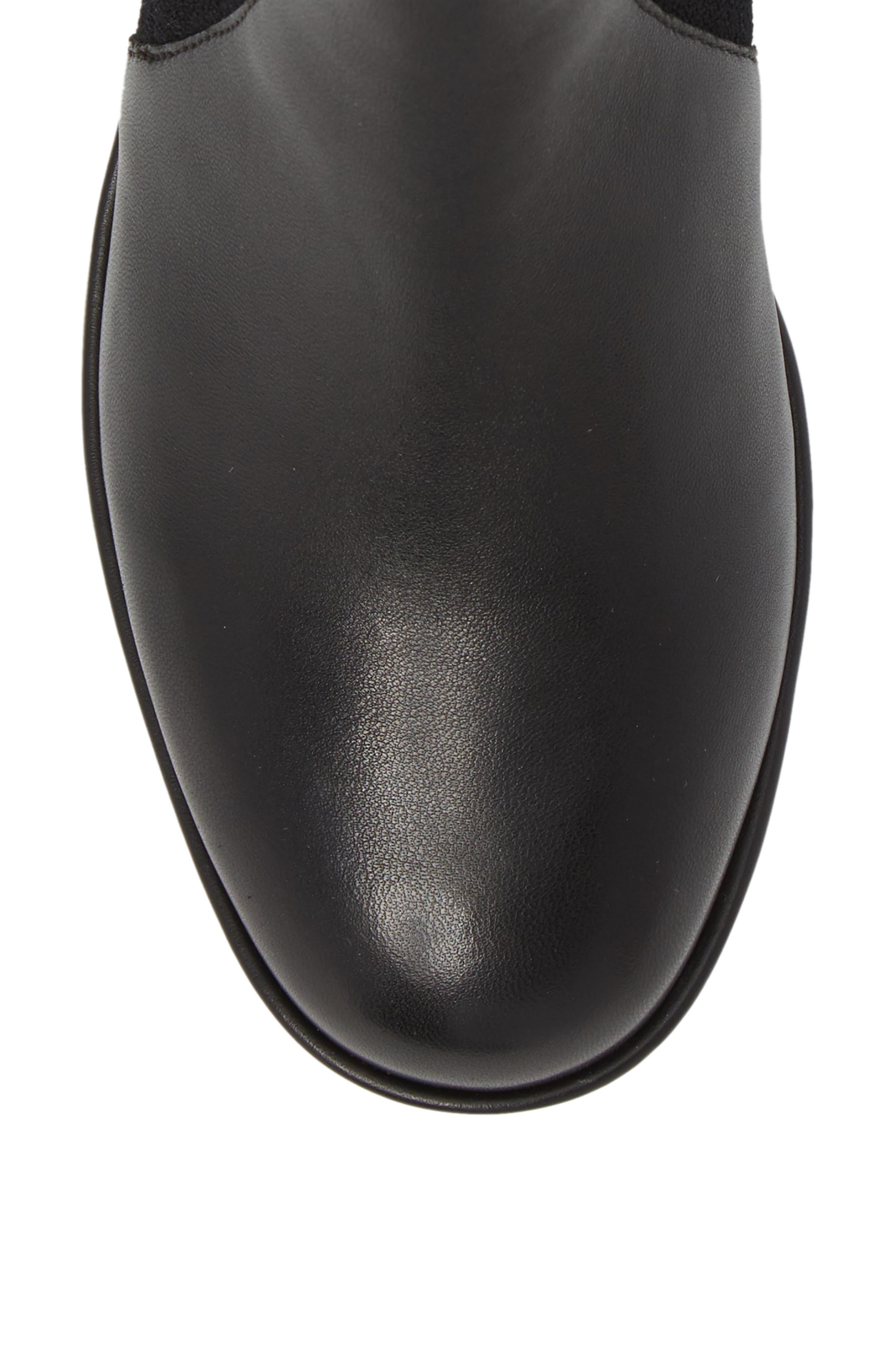 Sisea Platform Wedge Stretch Bootie,                             Alternate thumbnail 5, color,                             BLACK FABRIC