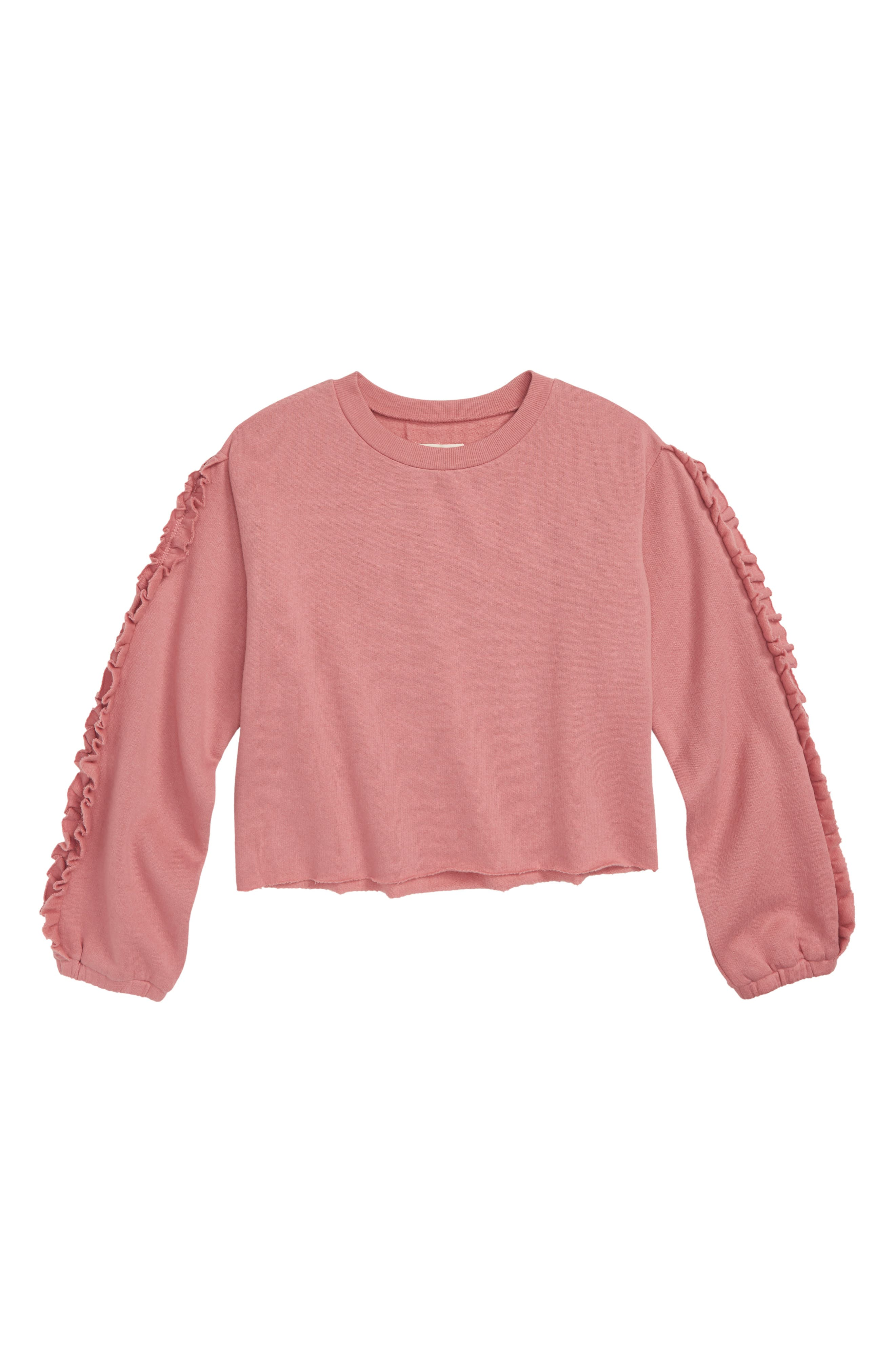Ruffle Sleeve Sweatshirt,                             Main thumbnail 1, color,                             680