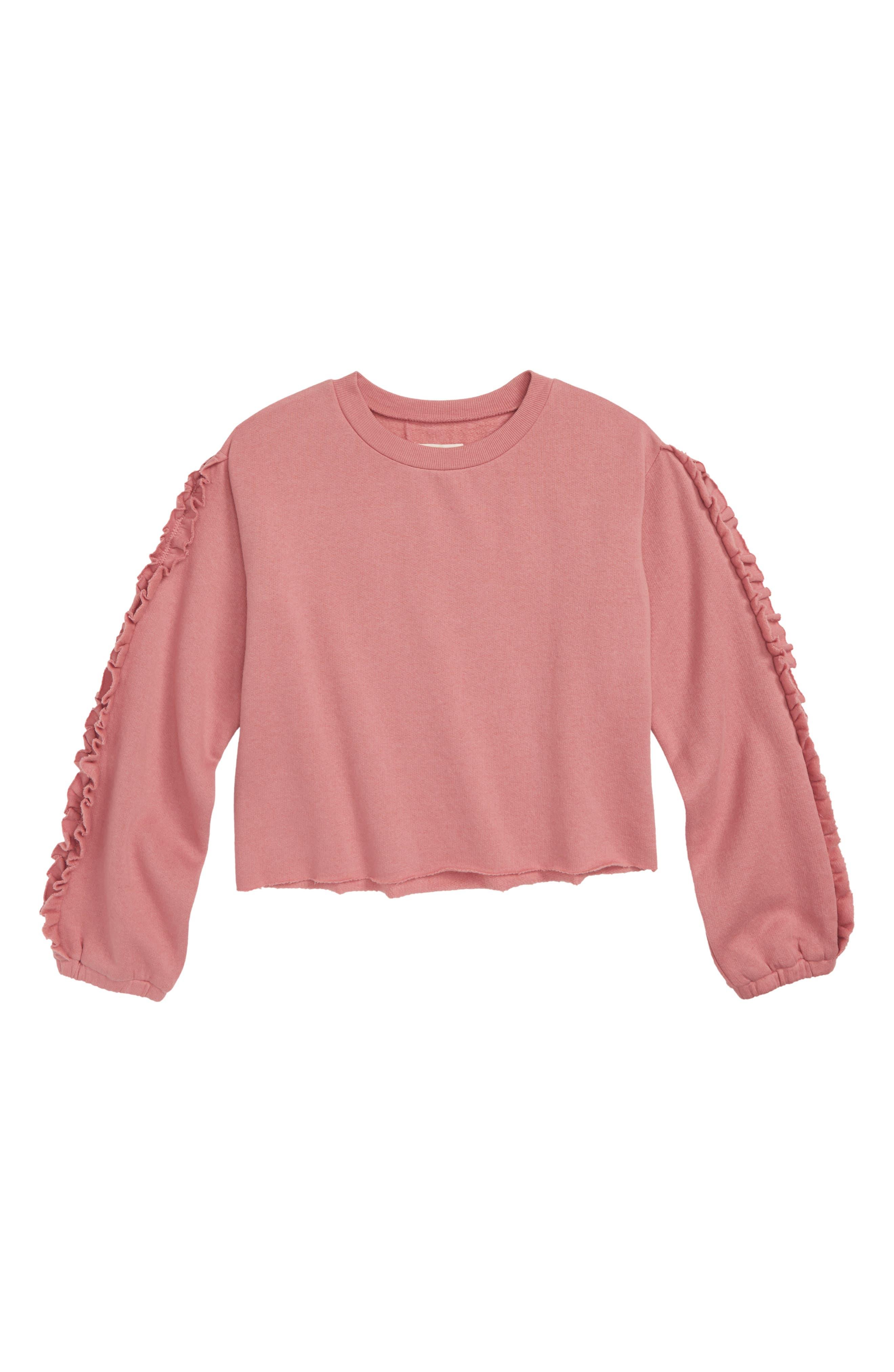 Ruffle Sleeve Sweatshirt,                         Main,                         color, 680