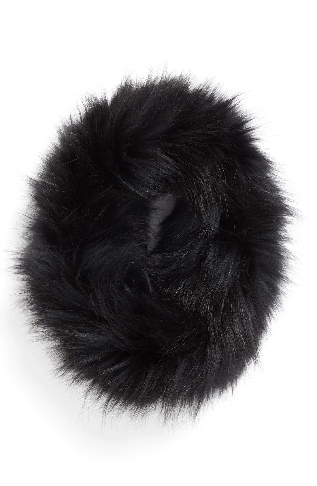 Genuine Fox Fur Cowl Collar,                             Main thumbnail 1, color,                             001