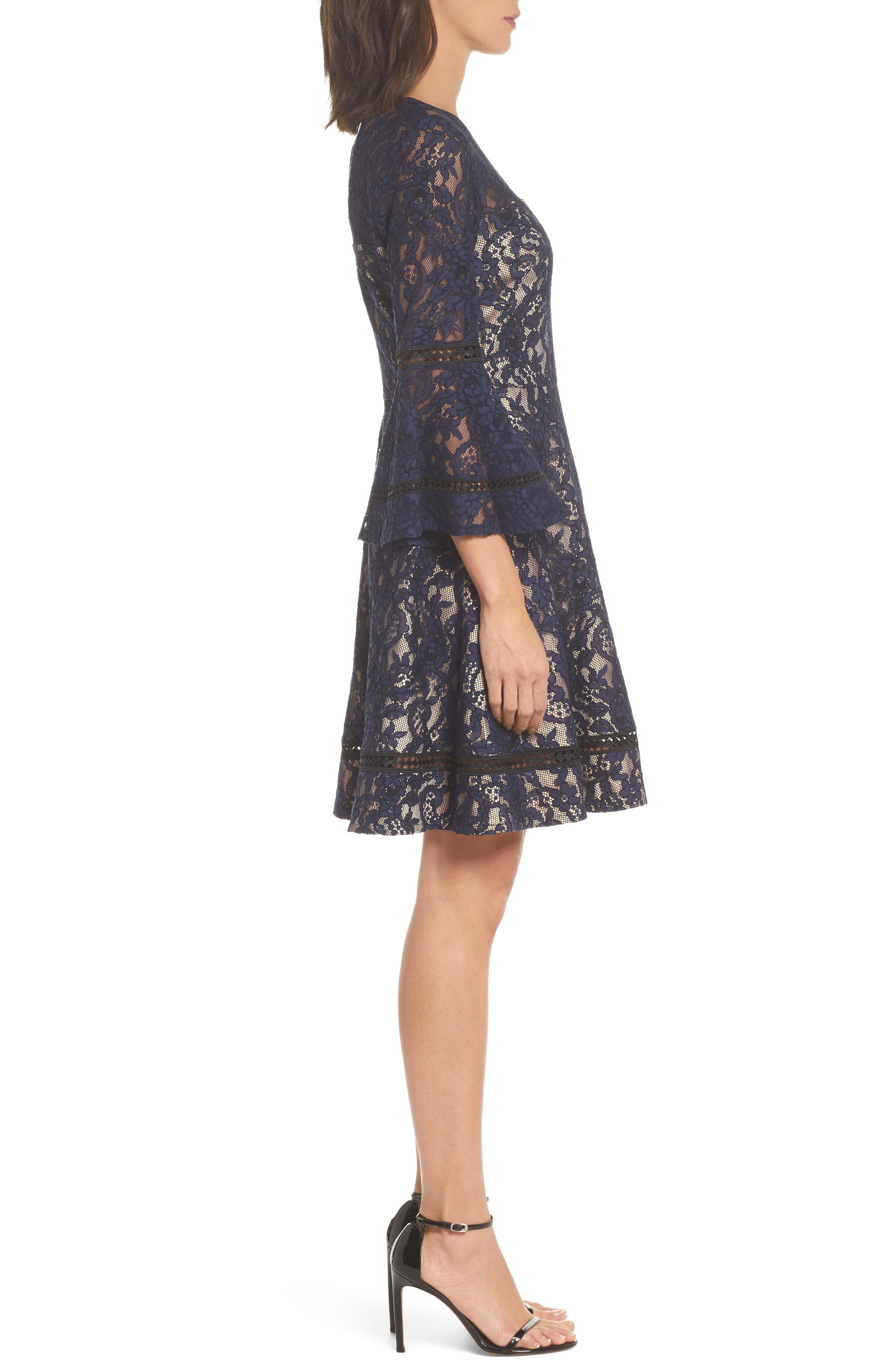 Bell Sleeve Lace Fit & Flare Dress,                             Alternate thumbnail 3, color,                             410