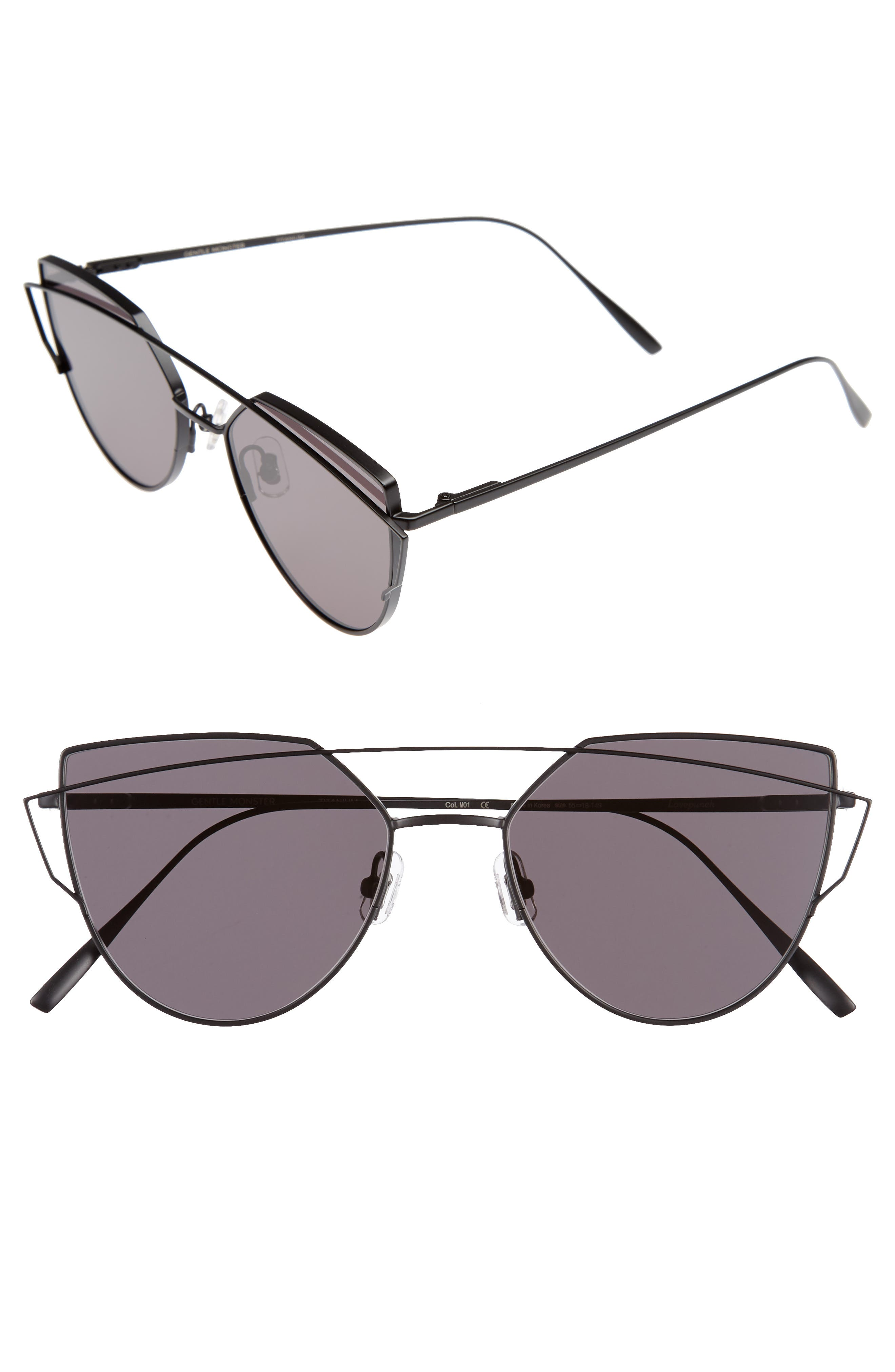 Love Punch 55mm Titanium Aviator Sunglasses,                         Main,                         color, 001
