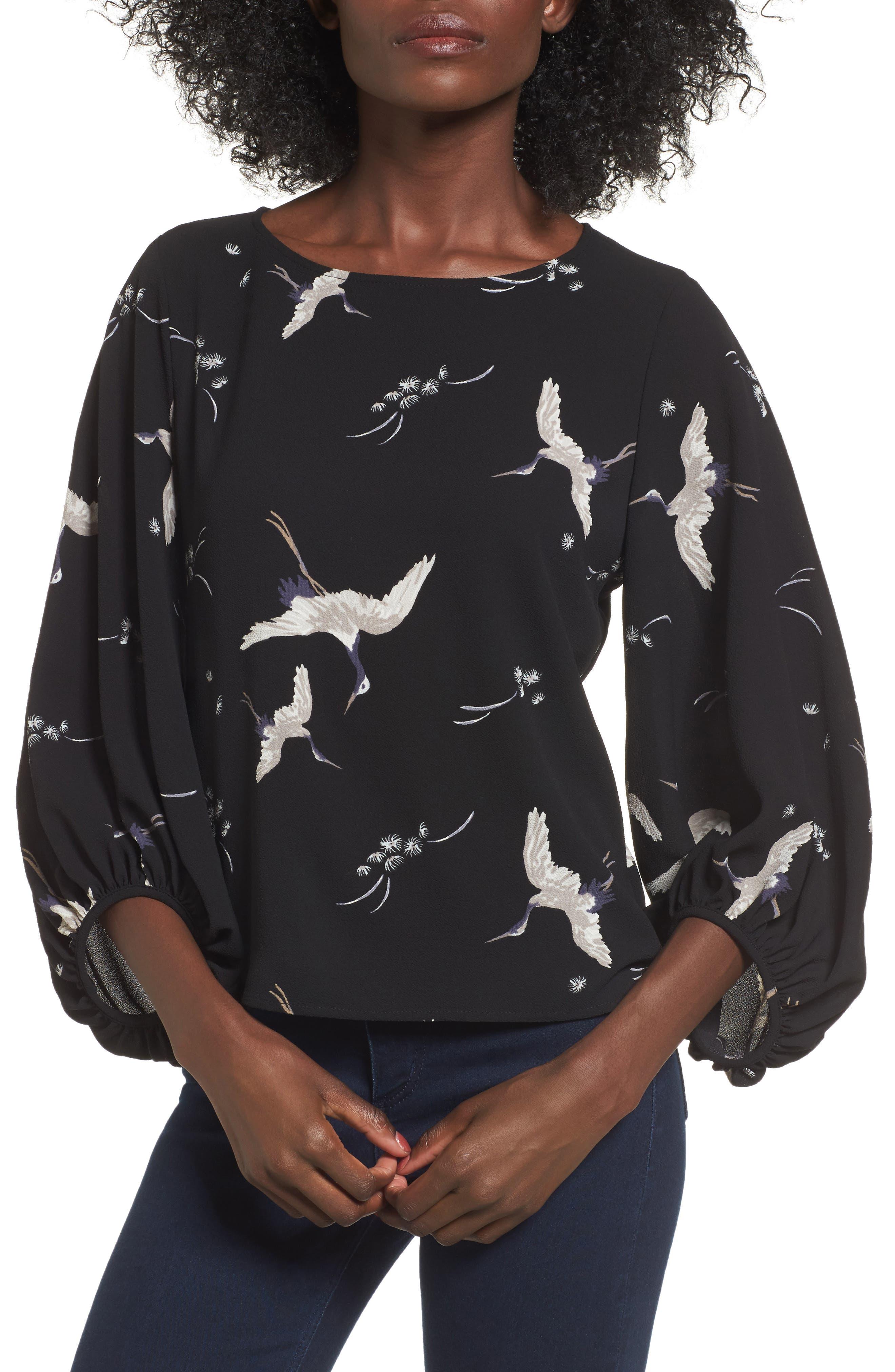 LEITH Bird Print Blouse, Main, color, 001