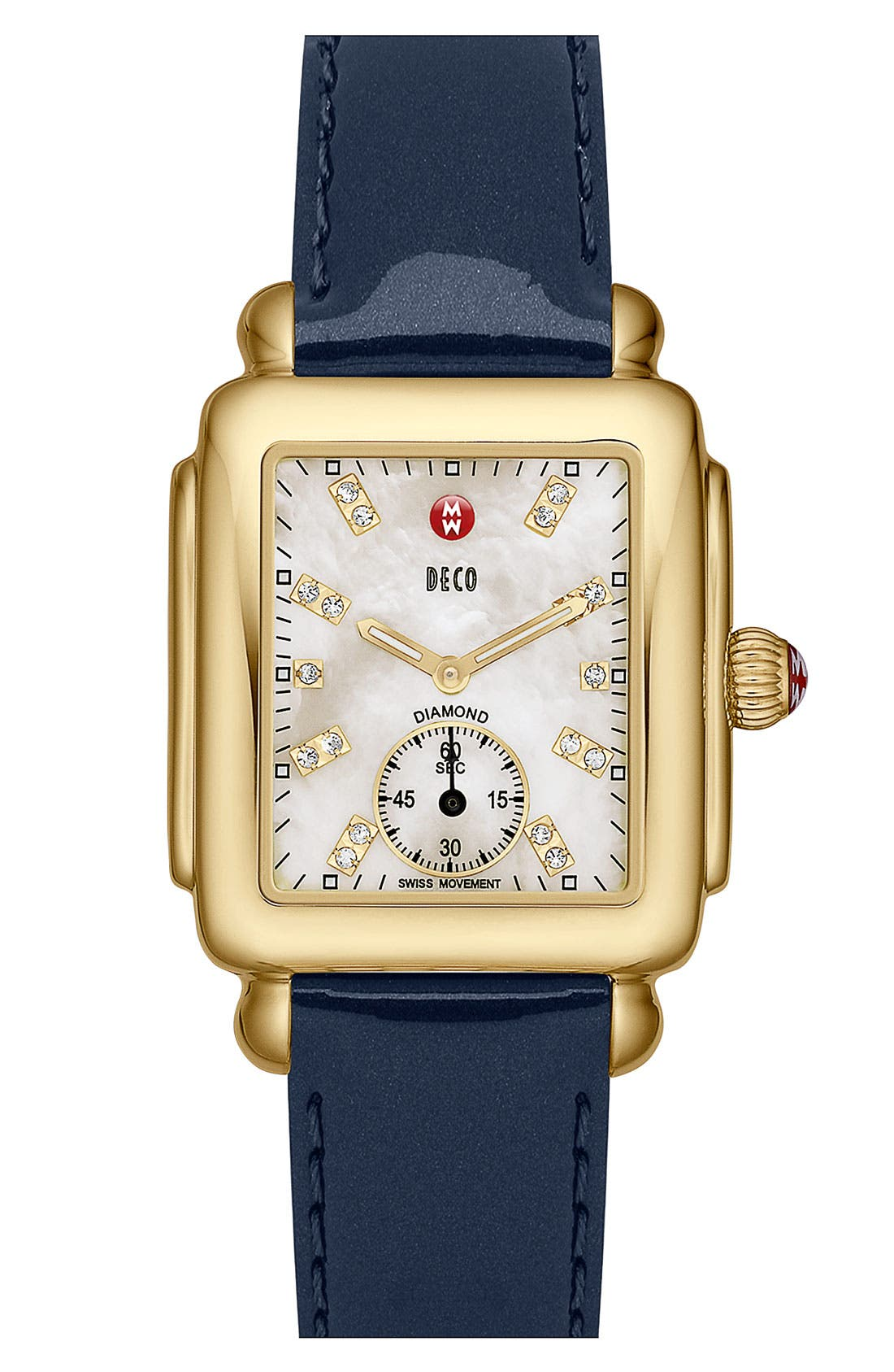 MICHELE,                             Deco 16 Diamond Dial Gold Watch Head, 29mm x 31mm,                             Alternate thumbnail 5, color,                             GOLD