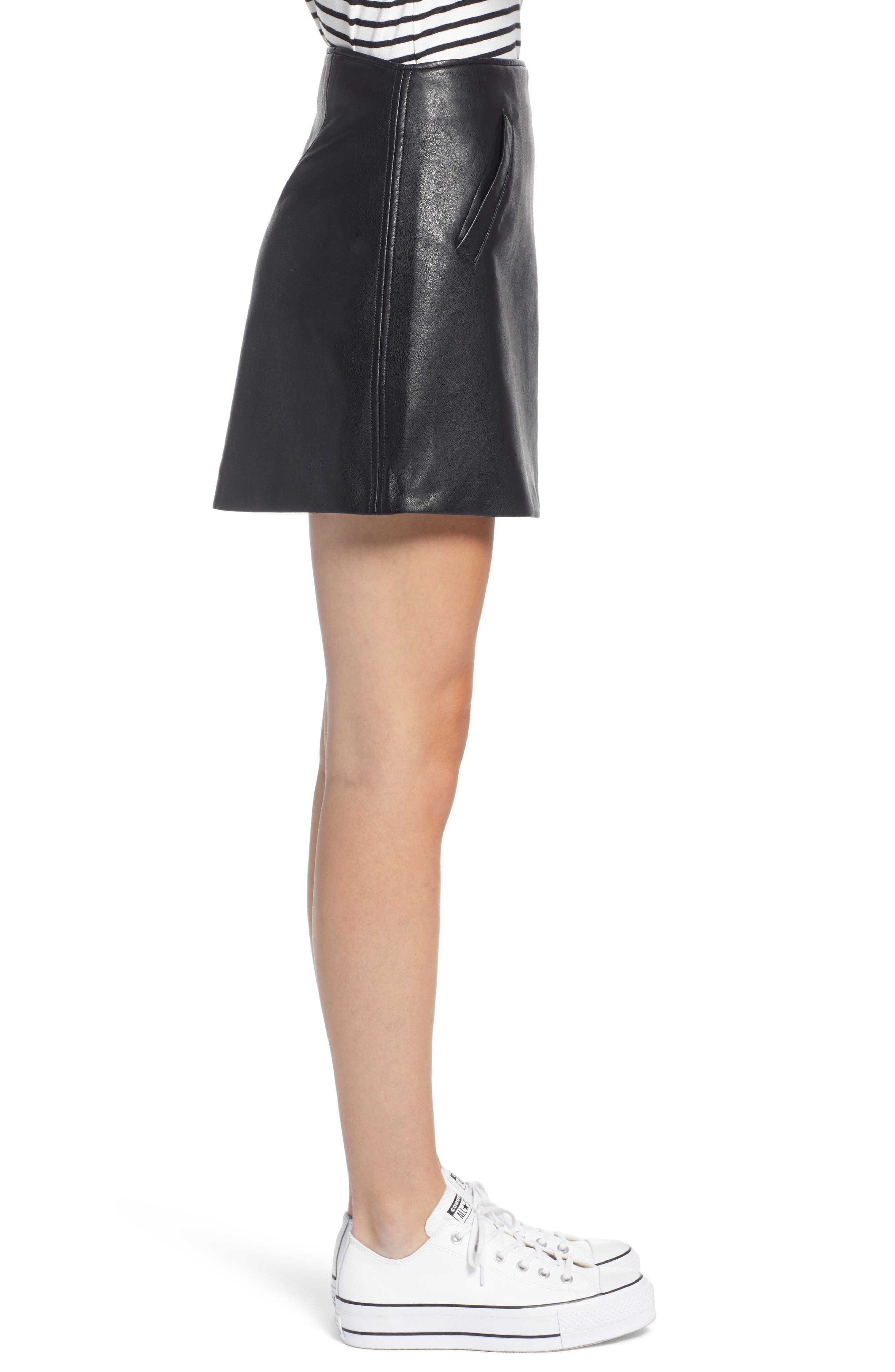 Faux Leather Miniskirt,                             Alternate thumbnail 3, color,                             LATCH ON