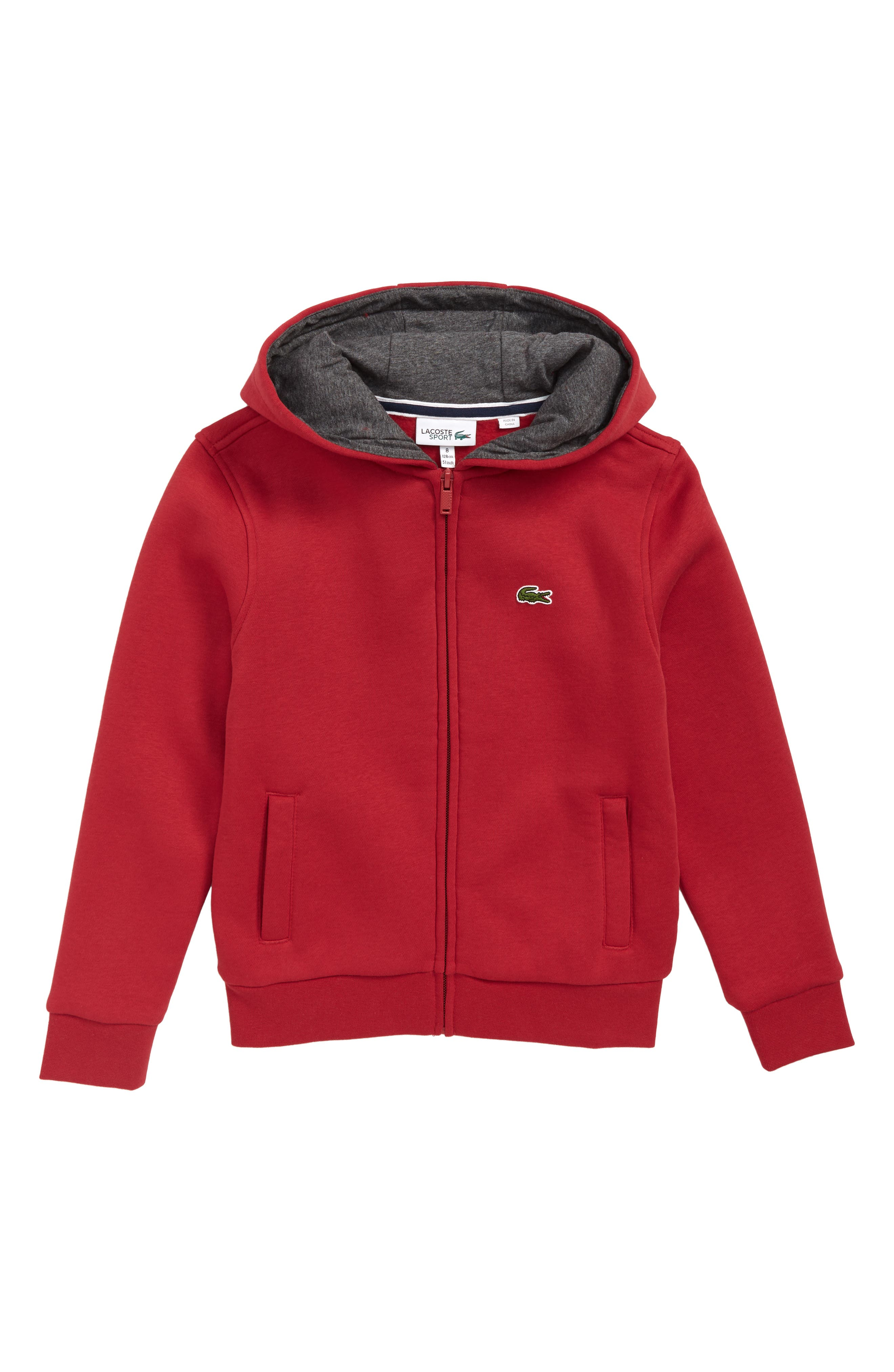 Fleece Hoodie,                         Main,                         color, LIGHTHOUSE RED