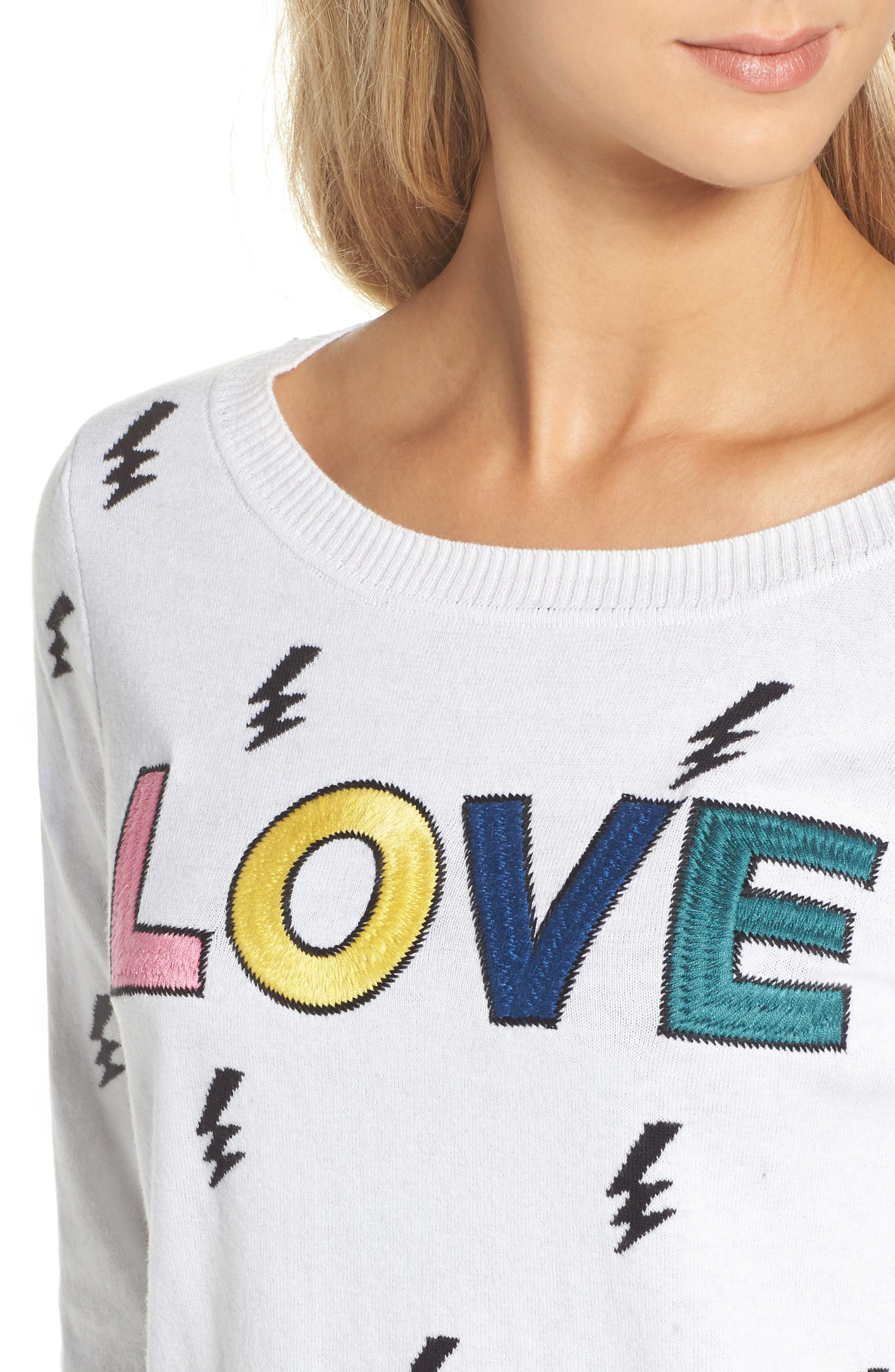 Lightning Intarsia Sweater,                             Alternate thumbnail 4, color,                             102