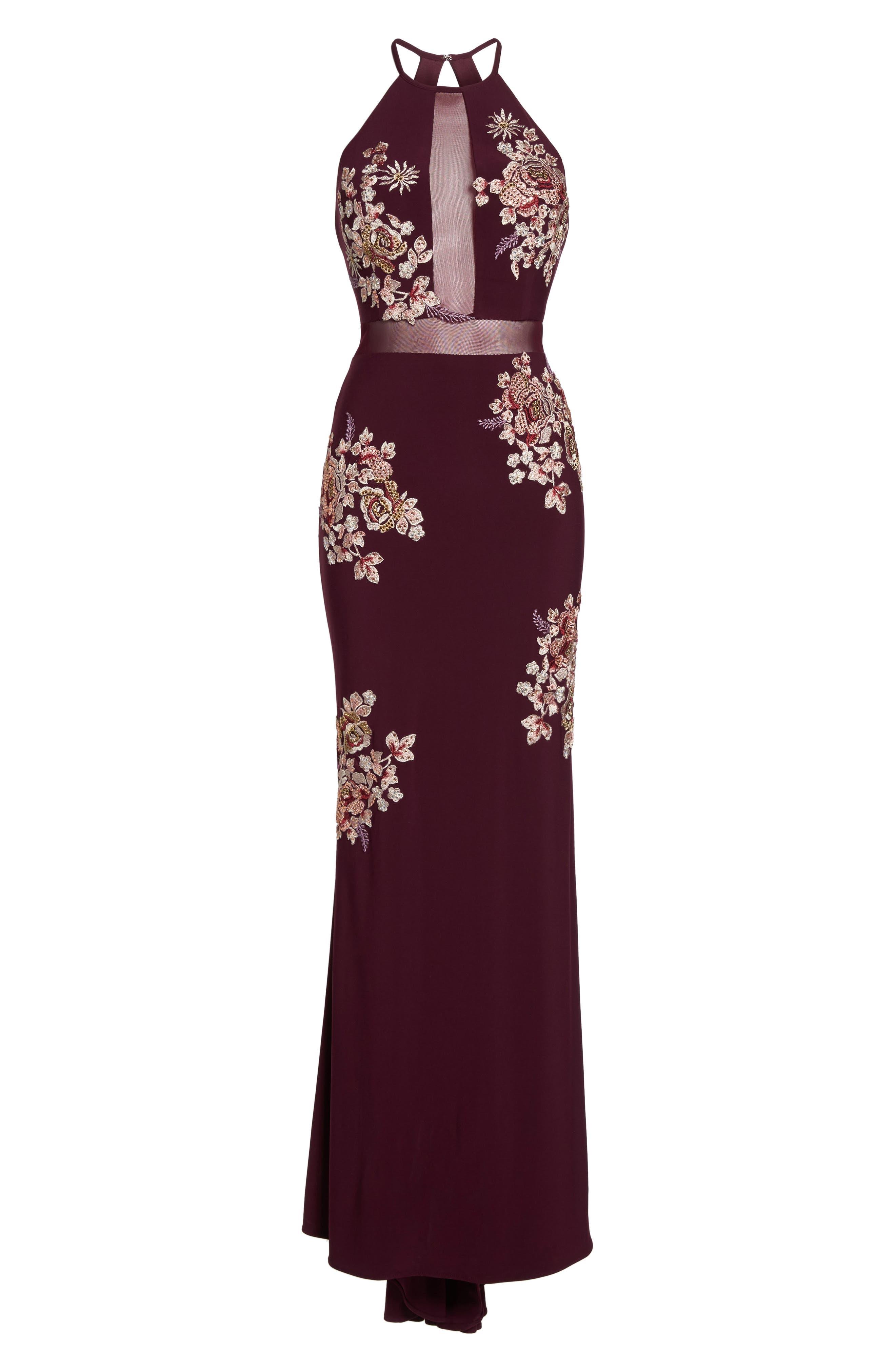 Embellished Floral Halter Gown,                             Alternate thumbnail 6, color,                             930