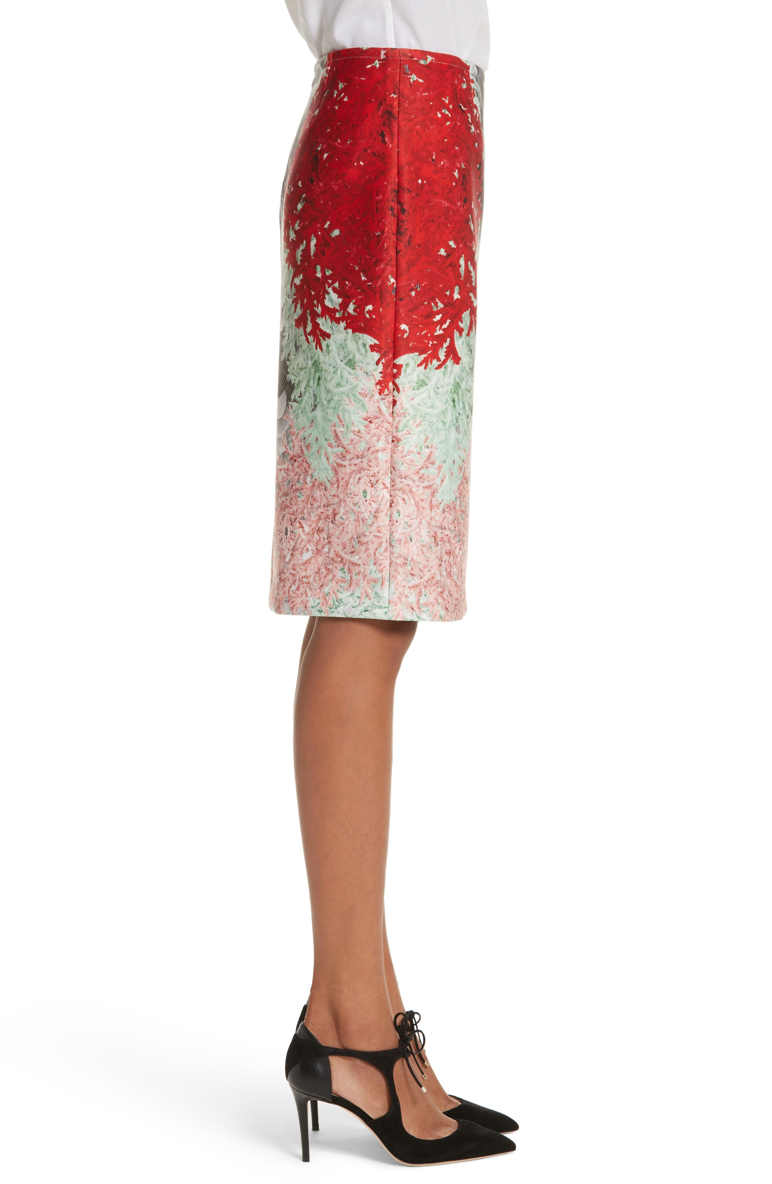 Coral Print Scuba Pencil Skirt,                             Alternate thumbnail 3, color,
