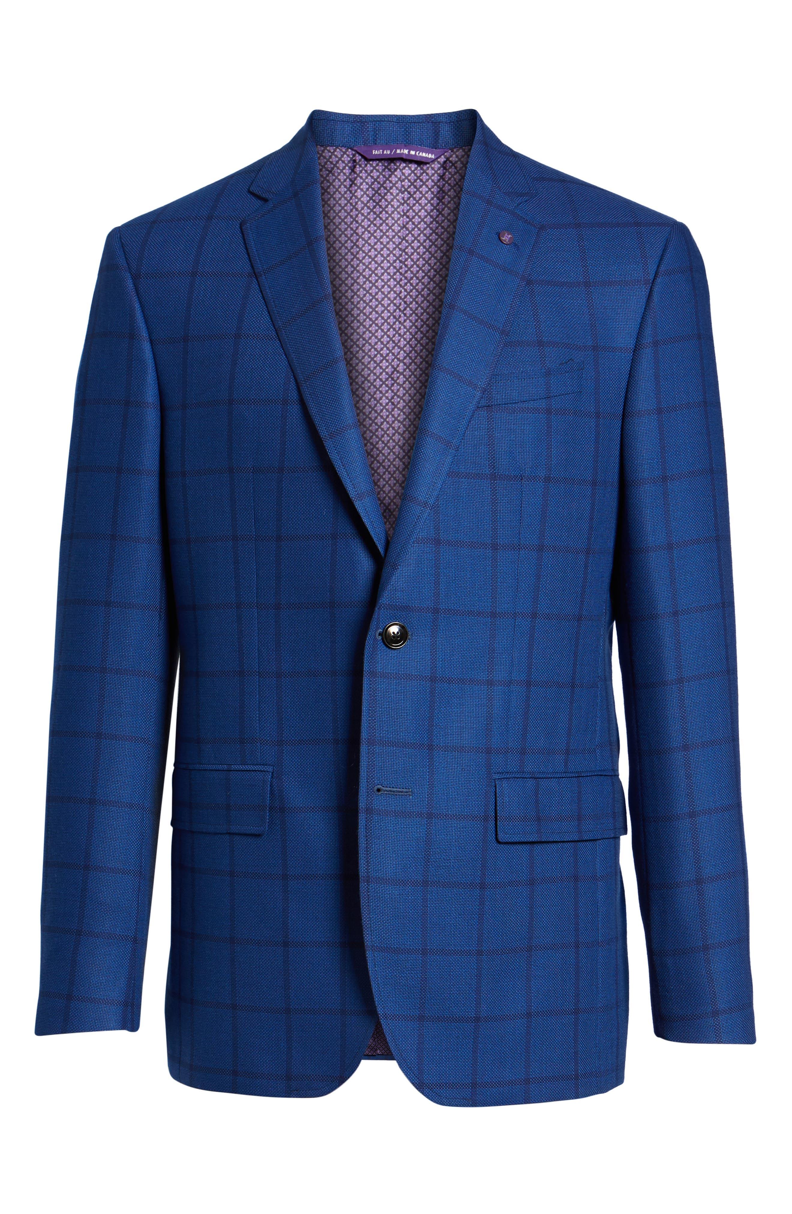 Jay Trim Fit Windowpane Wool Sport Coat,                             Alternate thumbnail 5, color,