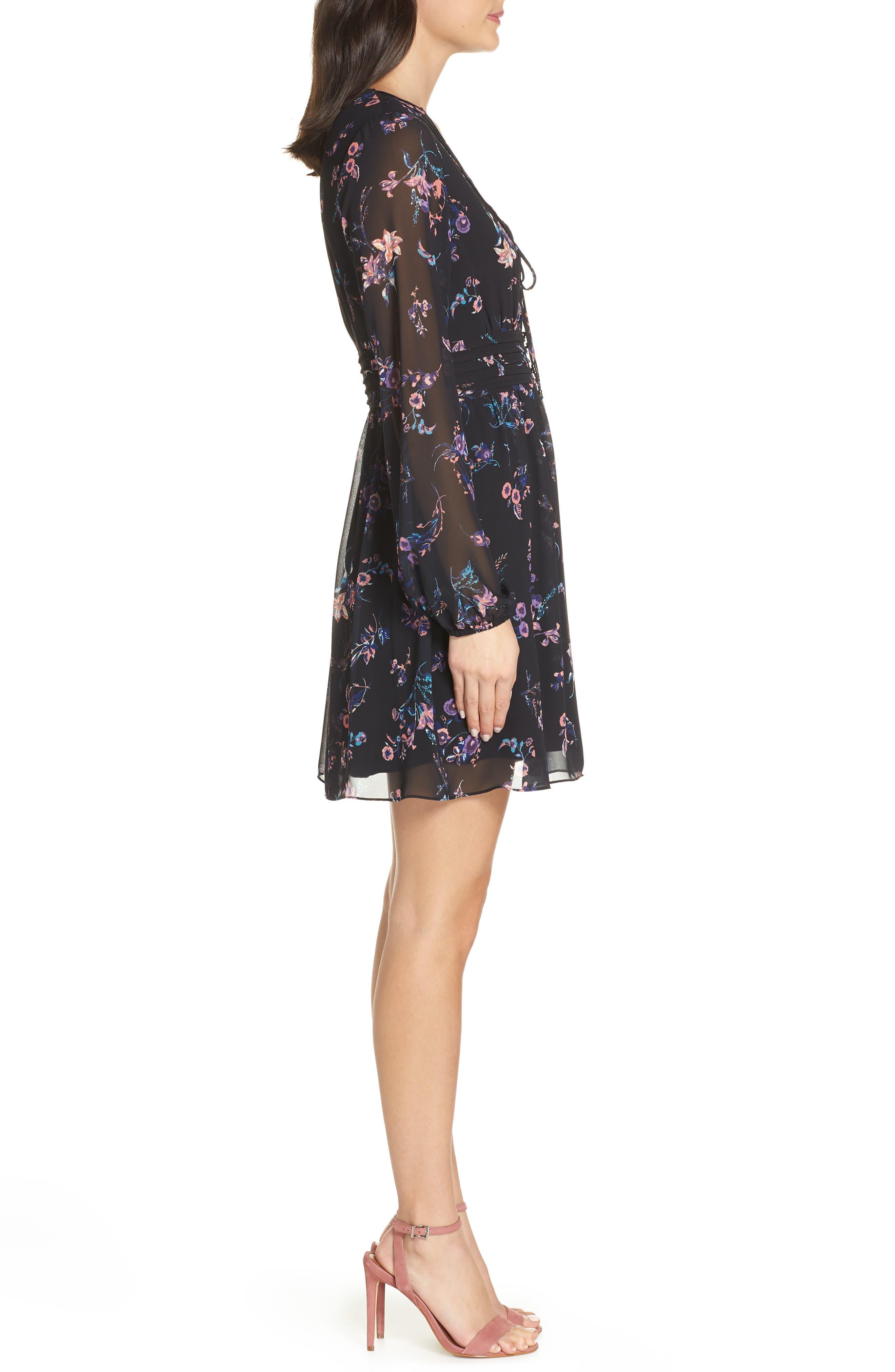 SAM EDELMAN,                             Floral Print Dress,                             Alternate thumbnail 4, color,                             004
