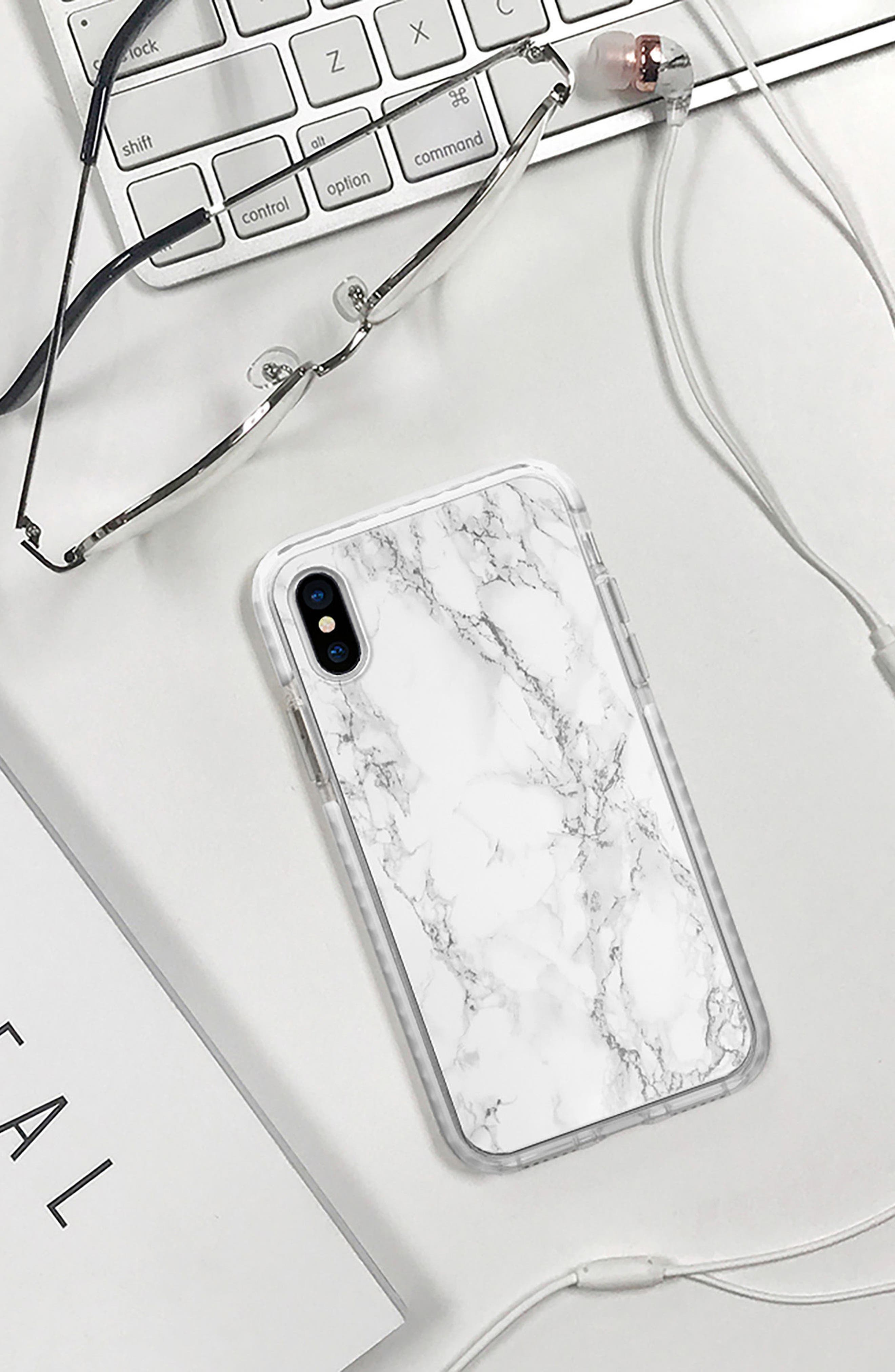 White Marble iPhone X/Xs Case,                             Alternate thumbnail 4, color,                             WHITE MARBLE