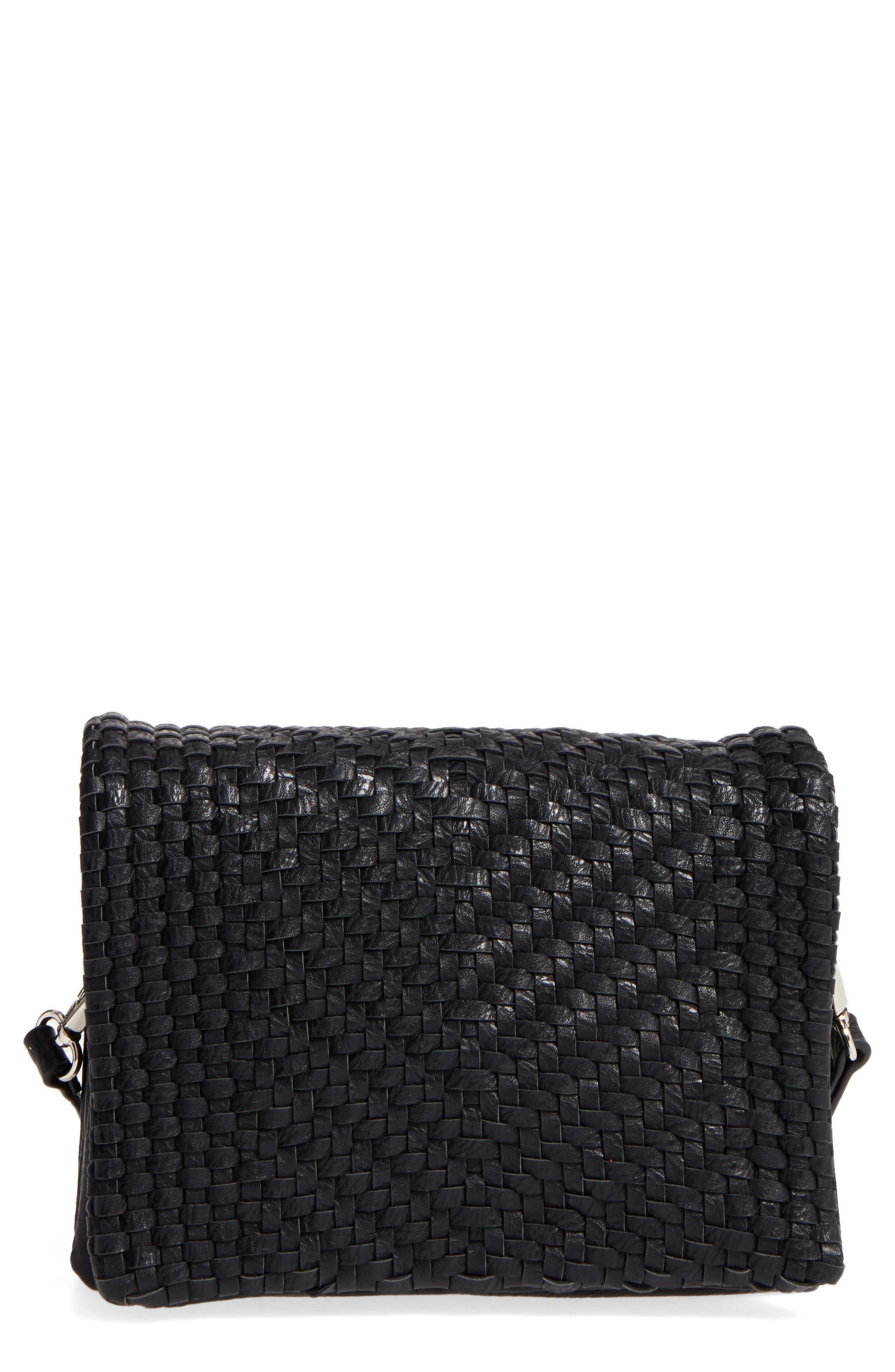Woven Faux Leather Crossbody Bag,                             Main thumbnail 1, color,                             001