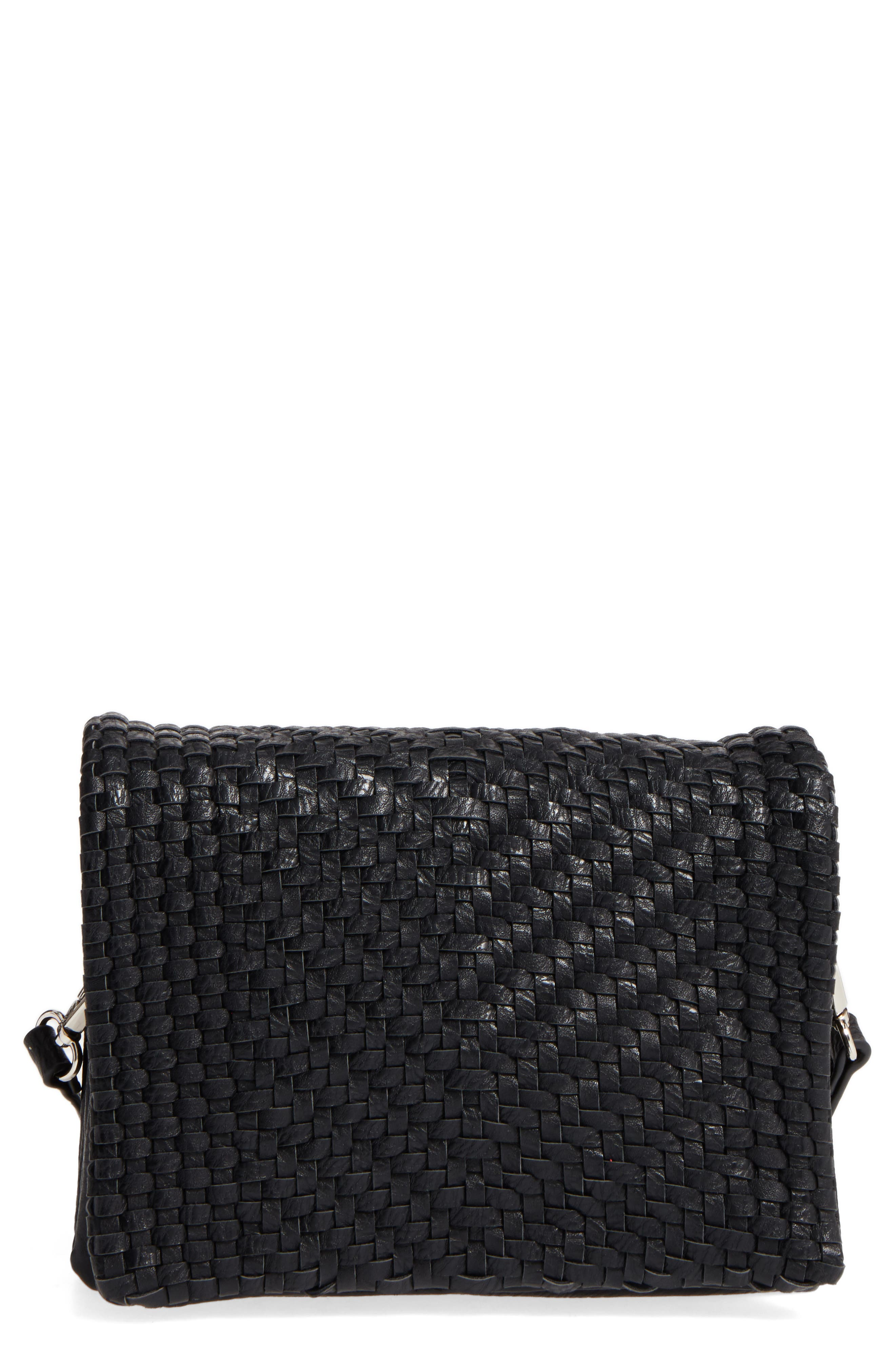 Woven Faux Leather Crossbody Bag,                         Main,                         color, 001