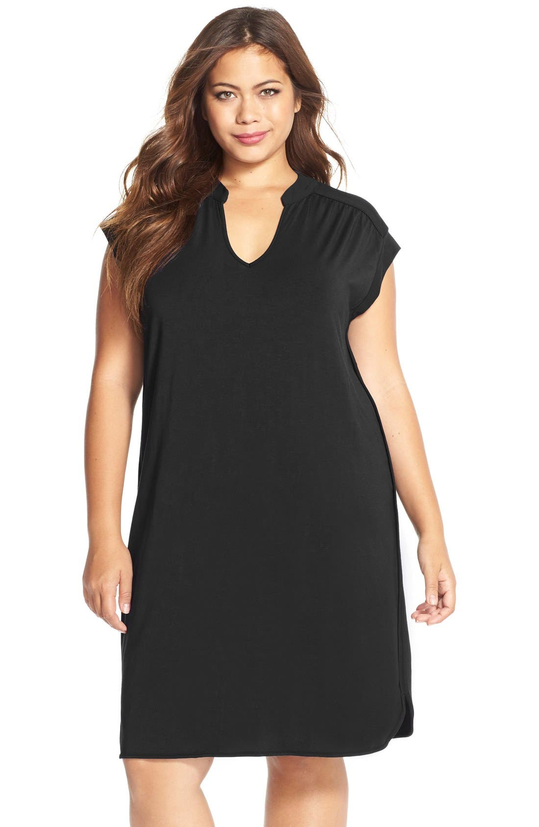 'Mellie' Split Neck Jersey Dress,                             Main thumbnail 1, color,                             001