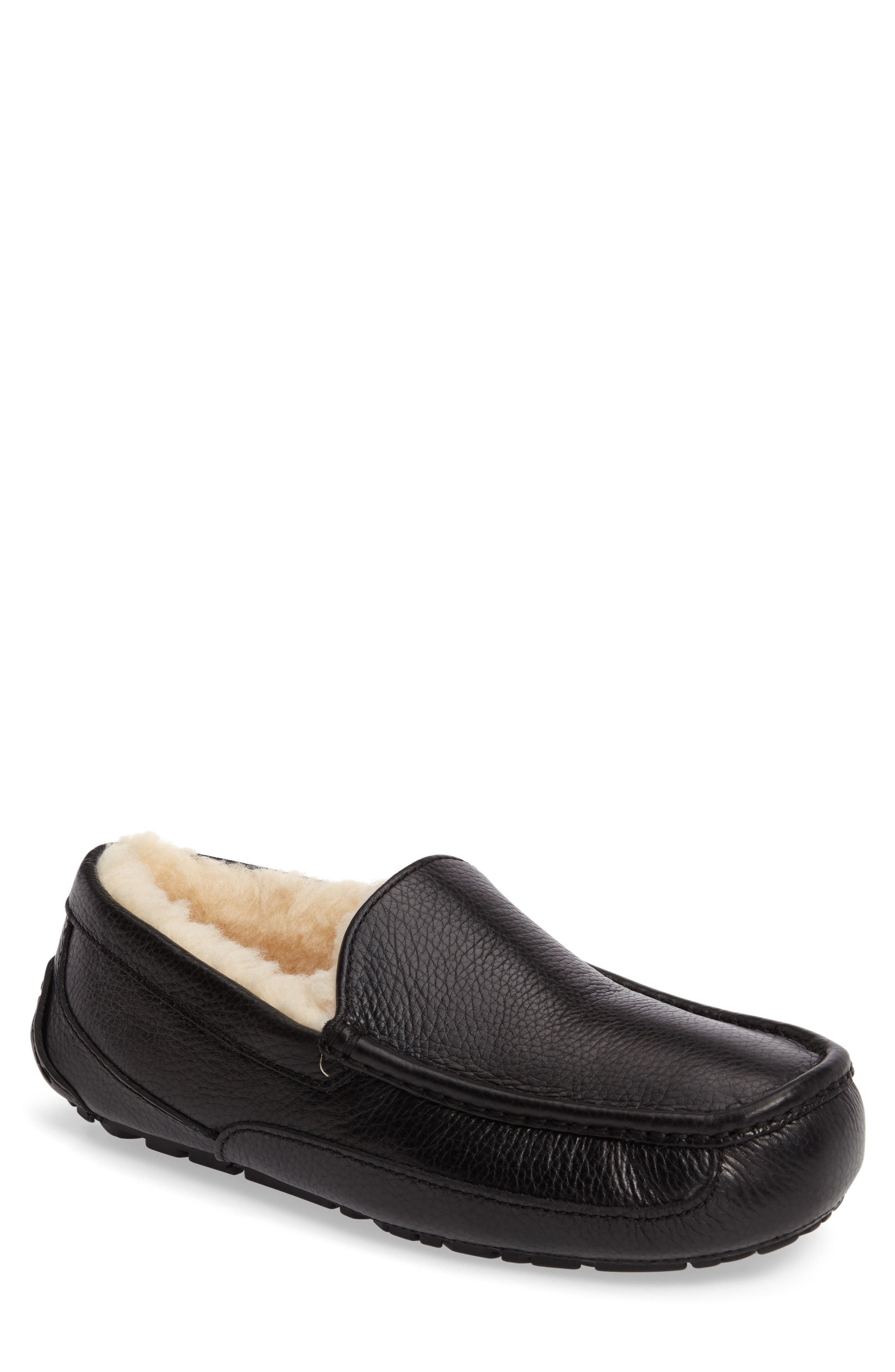 Ascot Leather Slipper,                         Main,                         color, BLACK