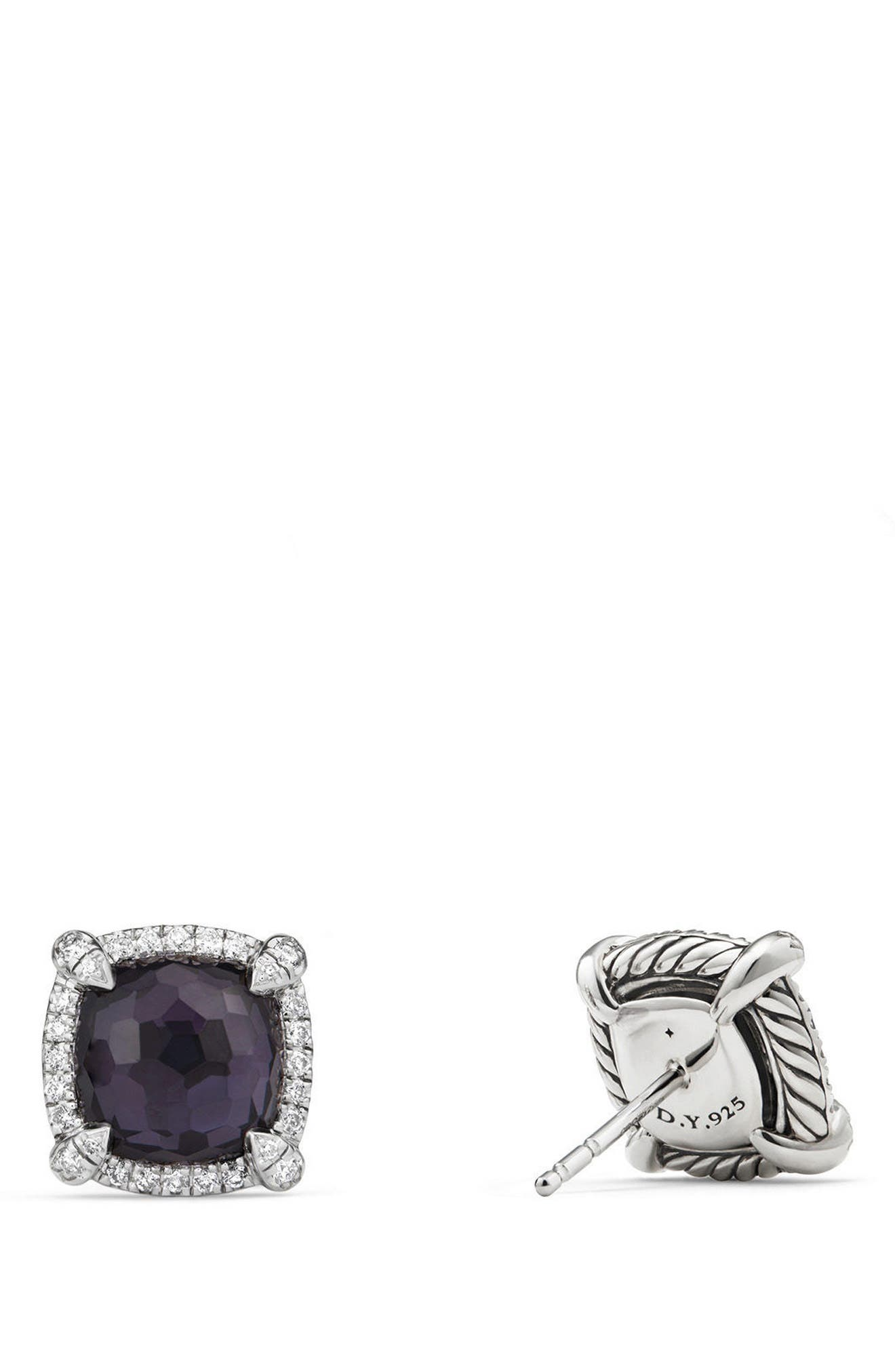 Chatelaine Pavé Bezel Earring with Black Orchid and Diamonds, 9mm,                             Alternate thumbnail 2, color,                             AMETHYST/ HEMETINE