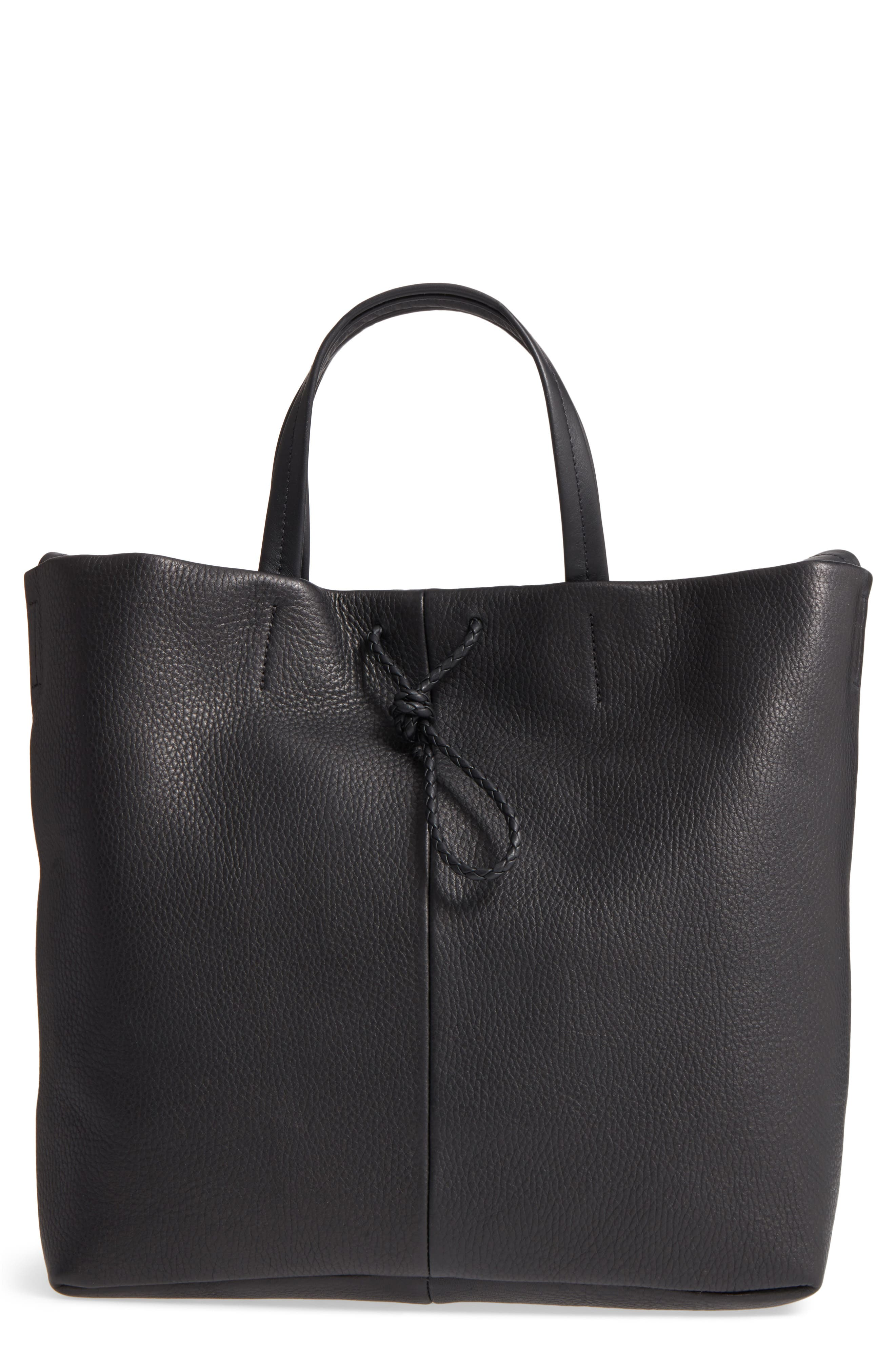 Latigo Square Pebbled Leather Shopper Tote,                         Main,                         color, 001
