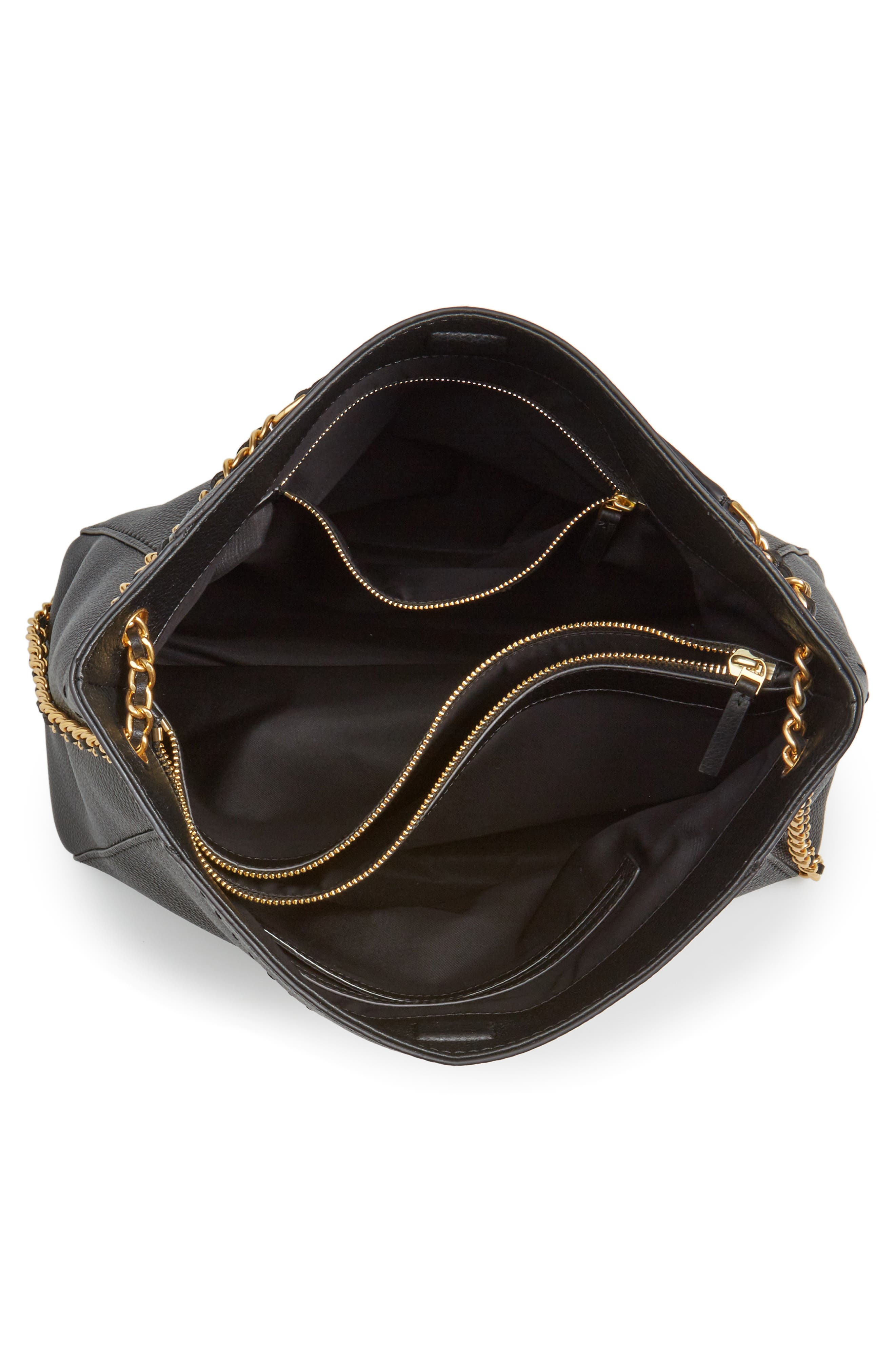 emerson place - priya quilted leather tote,                             Alternate thumbnail 4, color,                             001