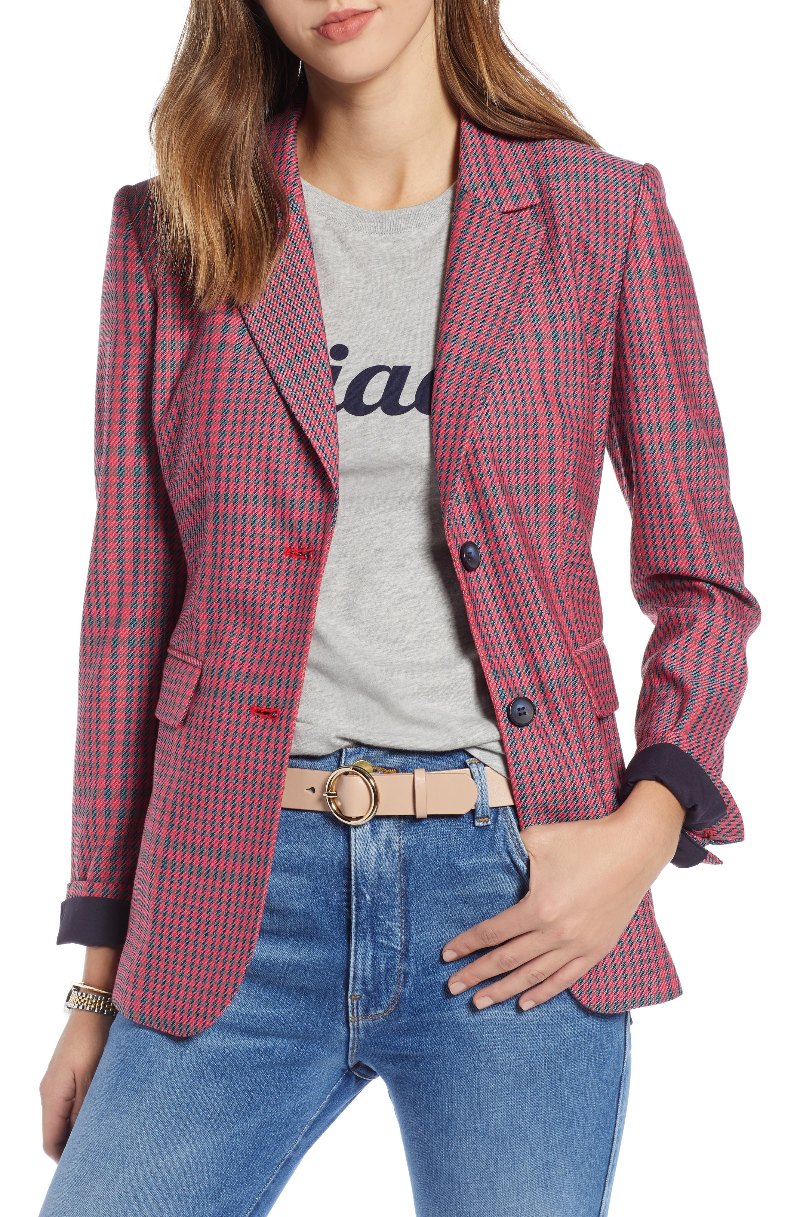 Plaid Blazer,                             Main thumbnail 1, color,                             PINK SIMONE PLAID