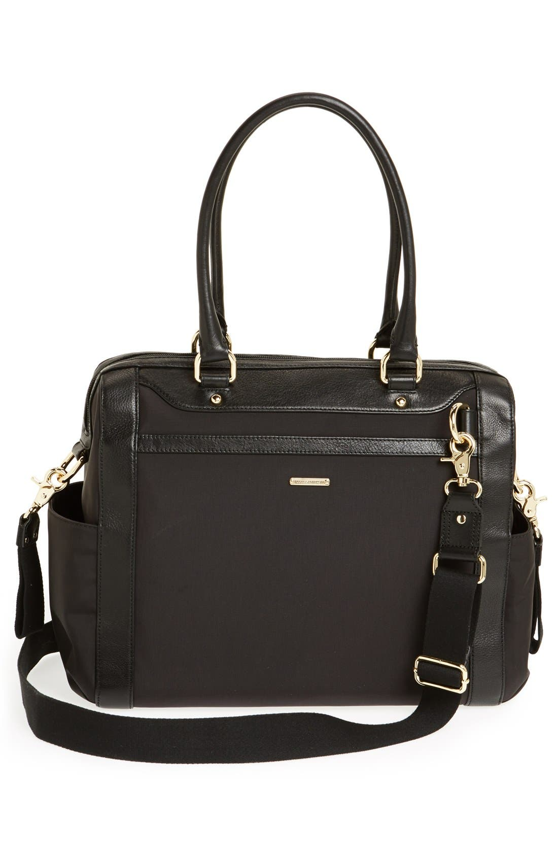 REBECCA MINKOFF,                             Knocked Up Leather Diaper Bag,                             Alternate thumbnail 3, color,                             001