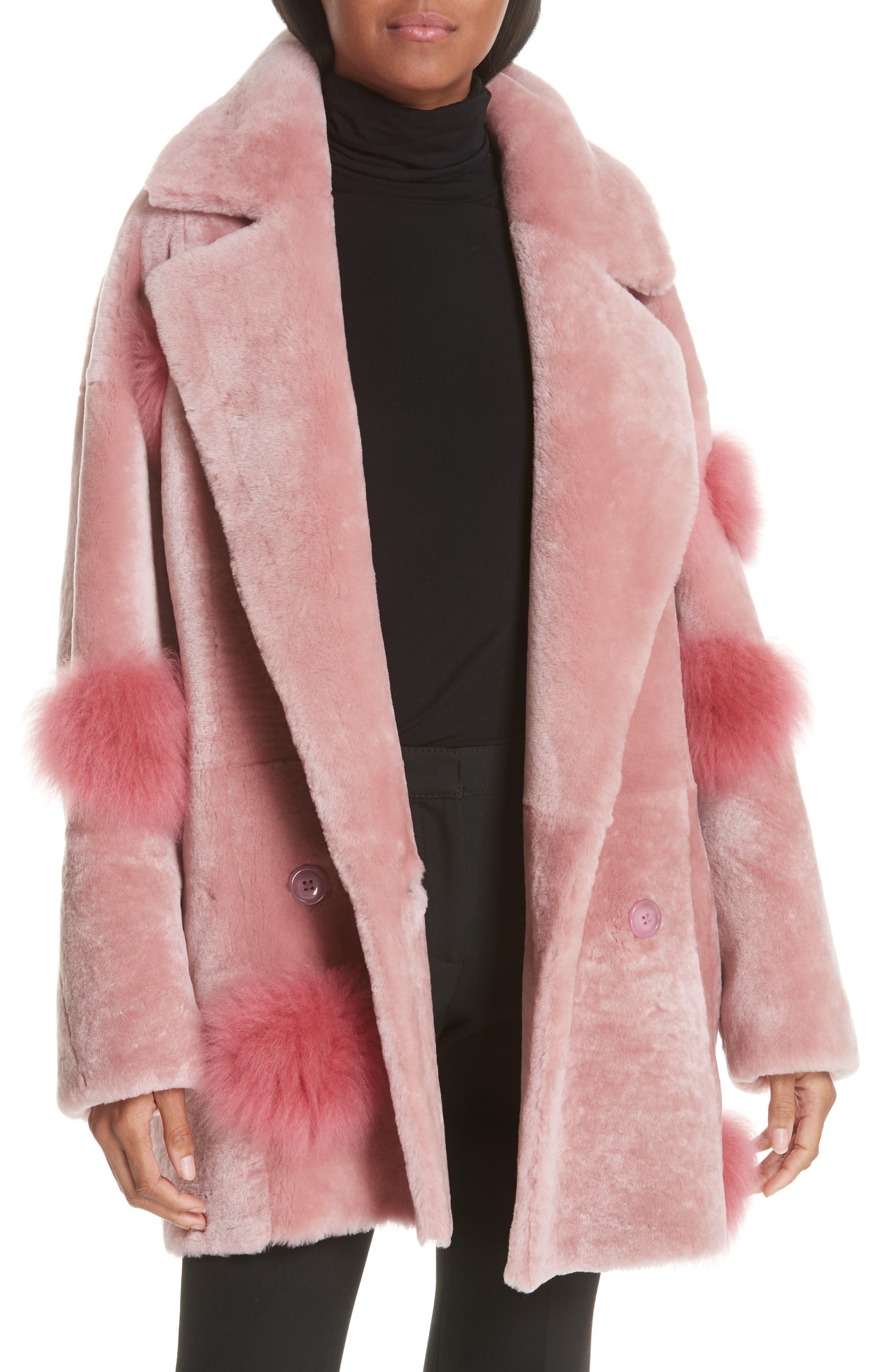 Anne Vest Peony Genuine Shearling Coat, 6 DE - Pink