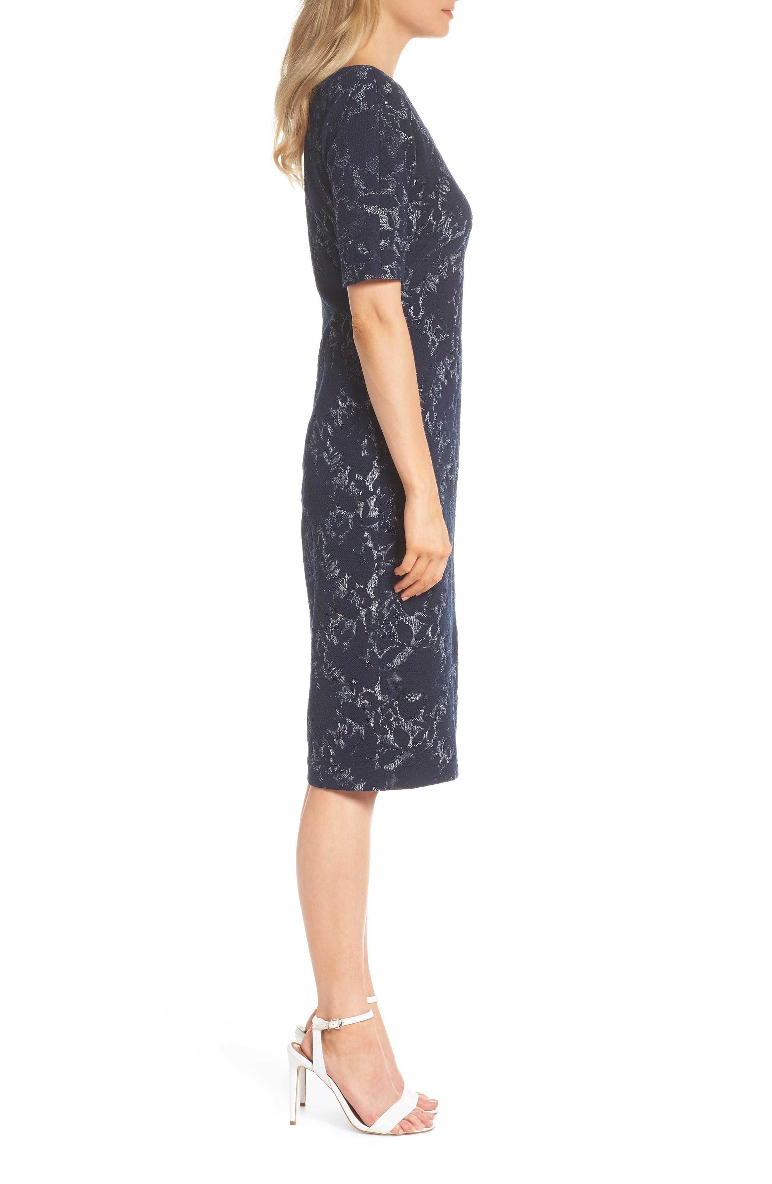 MAGGY LONDON,                             Jacquard Pencil Dress,                             Alternate thumbnail 3, color,                             462