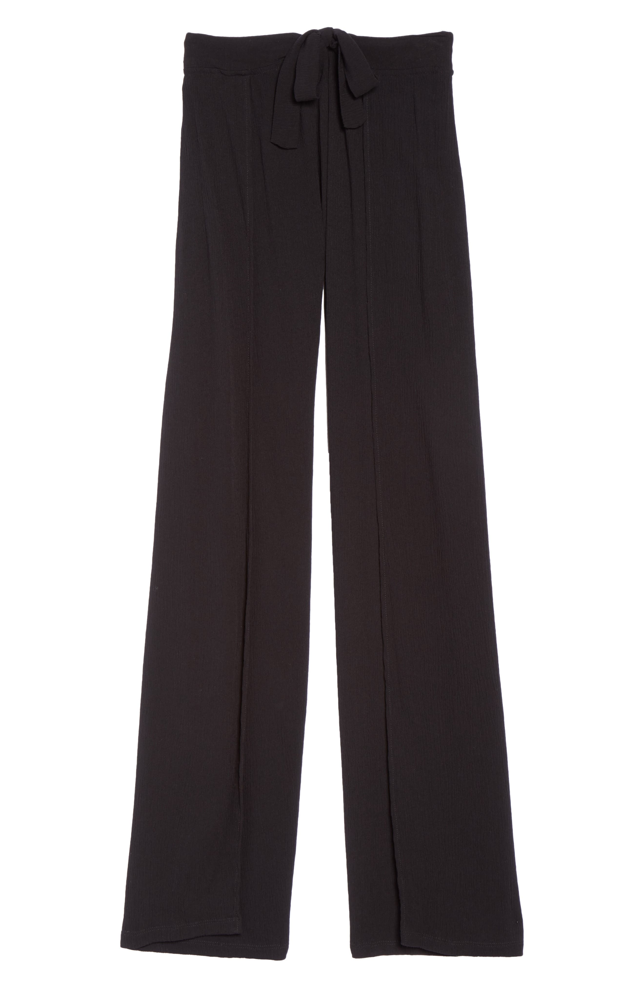 Modern Muse Cover-Up Flyaway Pants,                             Alternate thumbnail 6, color,                             BLACK