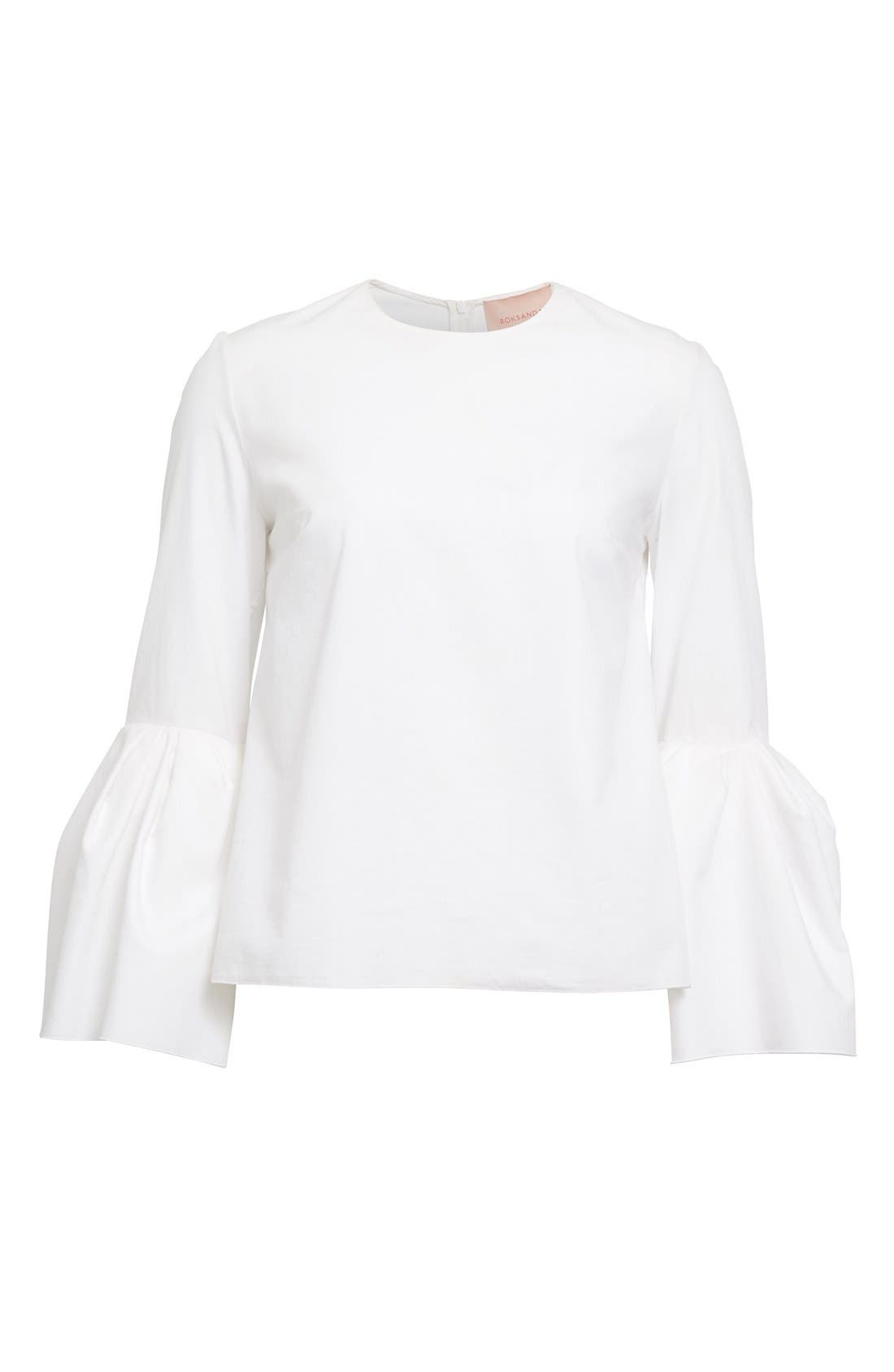 Truffaut Bell Sleeve Top,                             Alternate thumbnail 4, color,                             WHITE