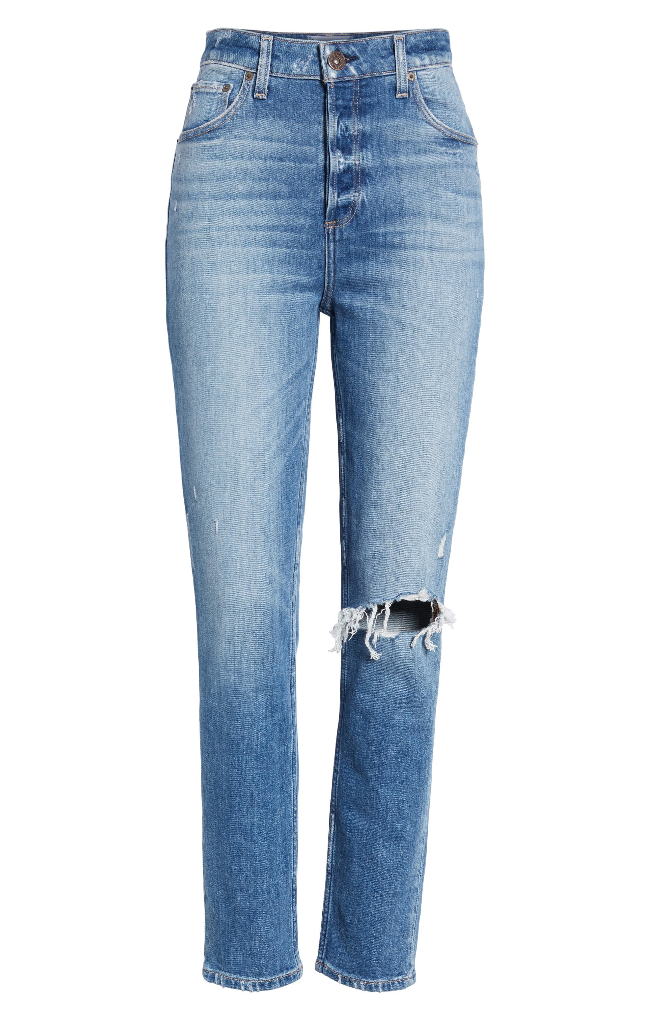 Sarah Ripped High Waist Ankle Straight Leg Jeans,                             Alternate thumbnail 7, color,                             BROOKVIEW DESTRUCTED